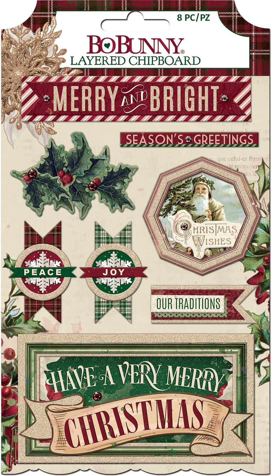 Christmas Treasures Adhesive Layered Chipboard 8/Pkg-W/Chiffon Glitter Accents