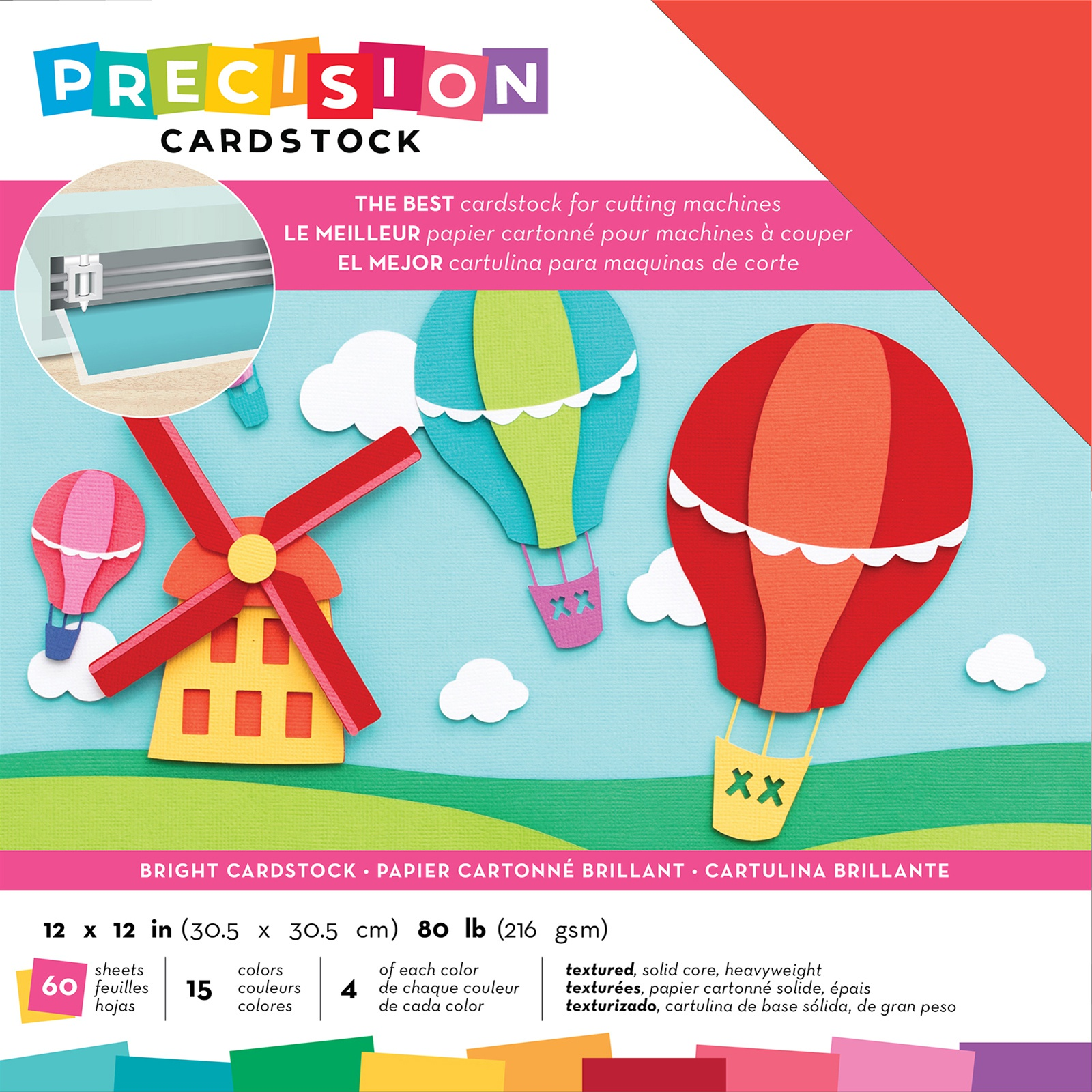 AC Precision Cardstock - 12x12 Variety Pack, Brights, Textured, 60/pkg