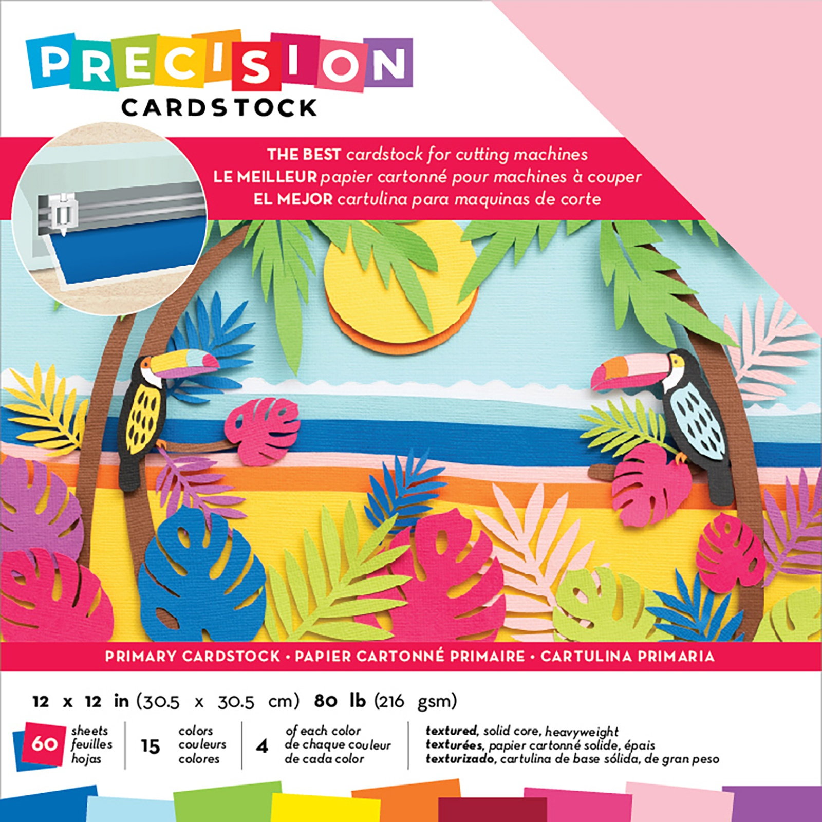 AC Precision Cardstock - 12x12 Variety Pack, Primary, Textured, 60/pkg