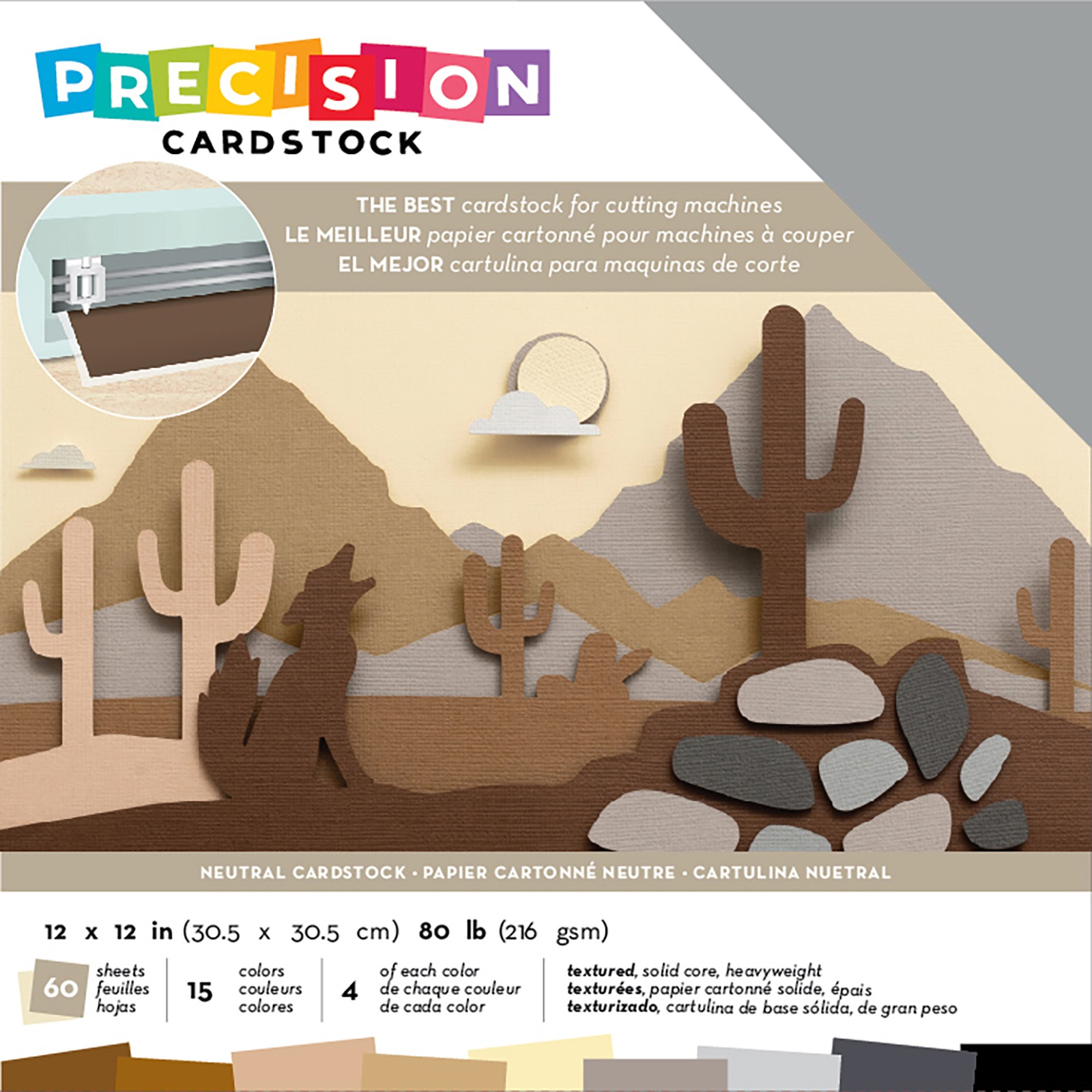 American Crafts Precision Cardstock Pack 80lb 12X12 60/Pkg-Neutral/Textured