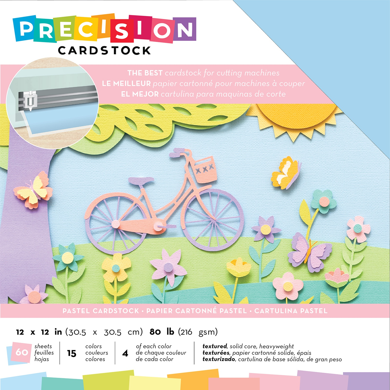 AC Precision Cardstock - 12x12 Variety Pack, Pastel, Textured, 60/pkg
