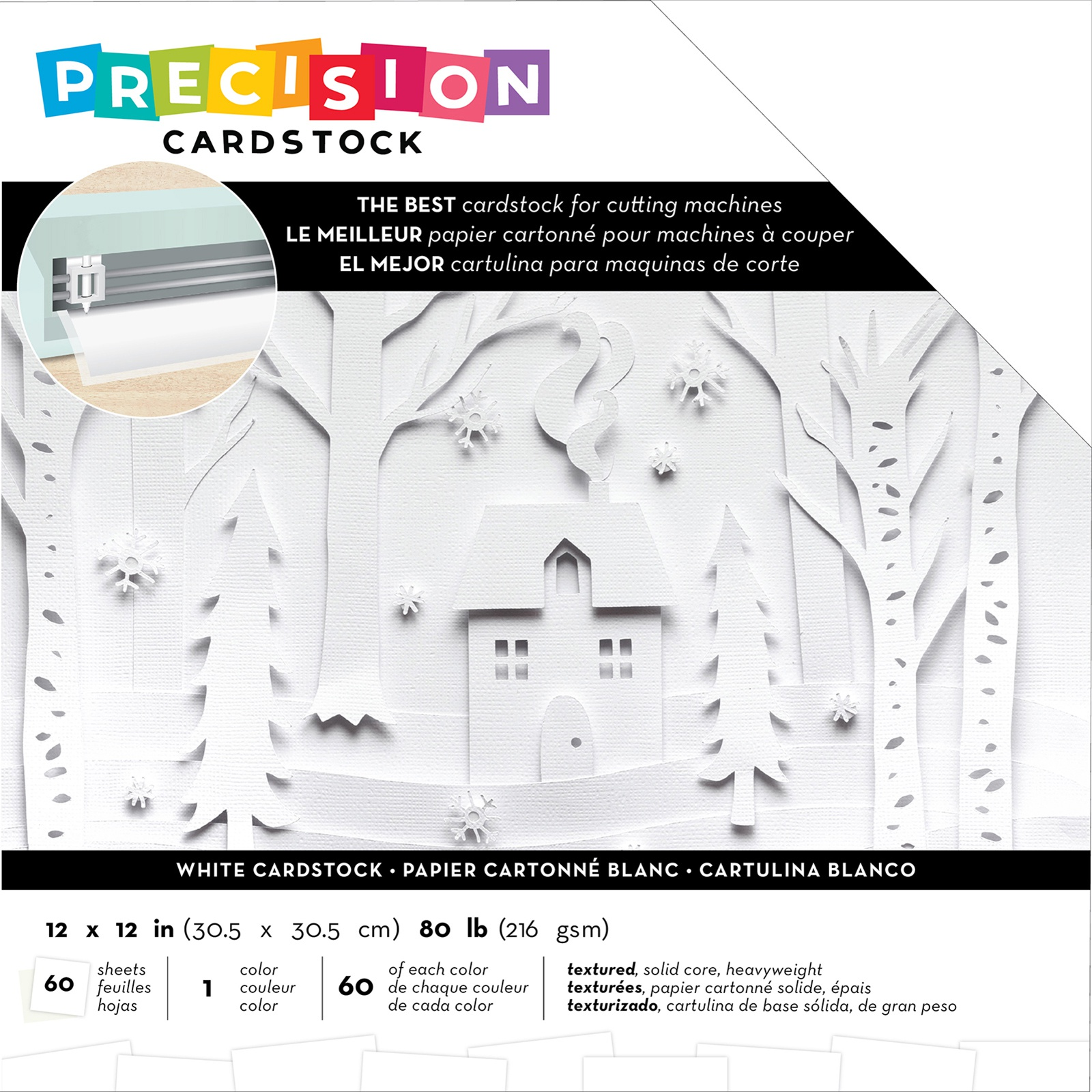 American Crafts Precision Cardstock Pack 80lb 12X12 60/Pkg-White/Textured