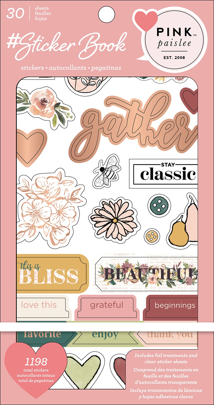 American Crafts Sticker Book 4.75X8-Pink Paislee W/Gold Foil, 1198/Pkg