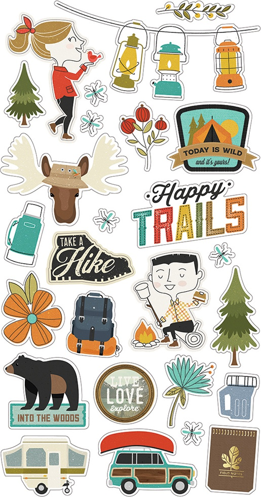 Happy Trails Chipboard Stickers 6X12-