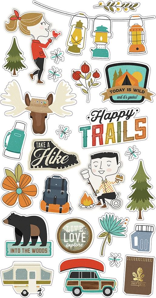 Happy Trails Chipboard Stickers 6X12-