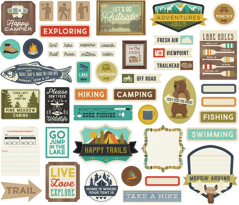 Happy Trails Tags & Frames Die-Cuts 48/Pkg-