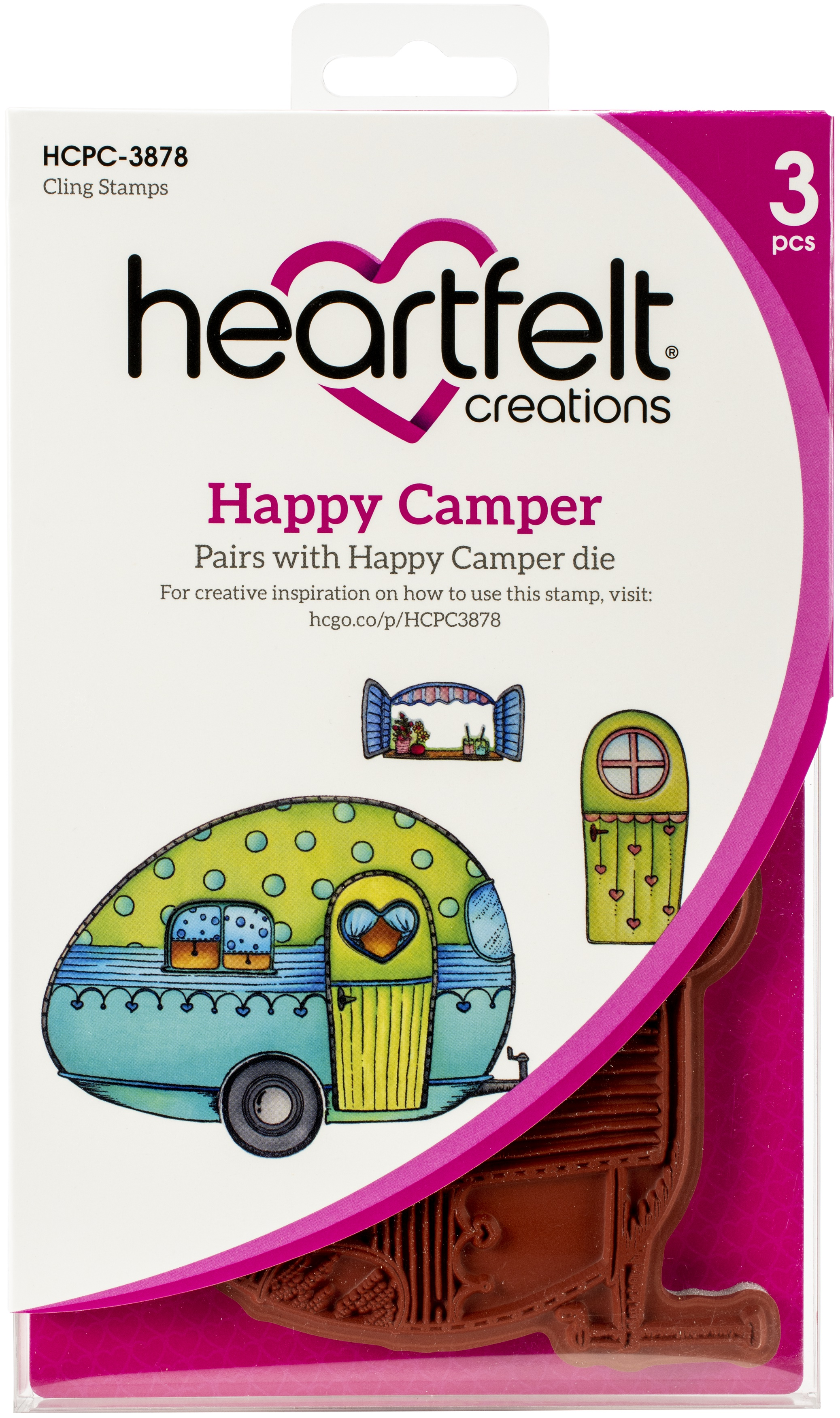 Heartfelt Creations Cling Rubber Stamp Set-Happy Camper 1 To 5.25