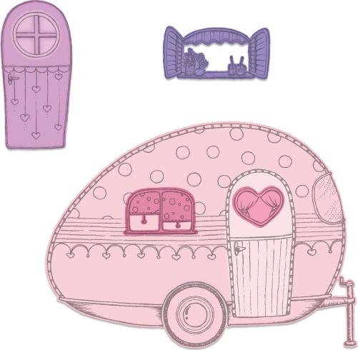 Heartfelt Creations Cut & Emboss Dies-Happy Camper 1 To 5.5