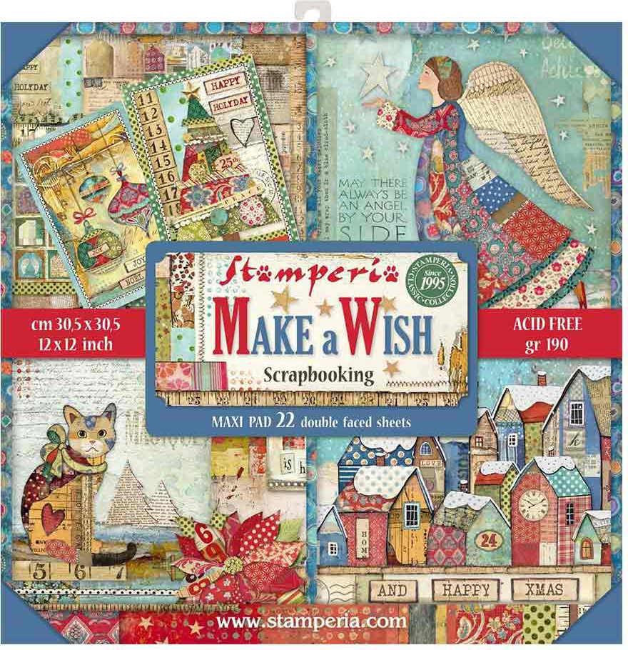 Stamperia Double-Sided Paper Pad 12X12 22/Pkg-Make A Wish, 22 Designs/1 Each