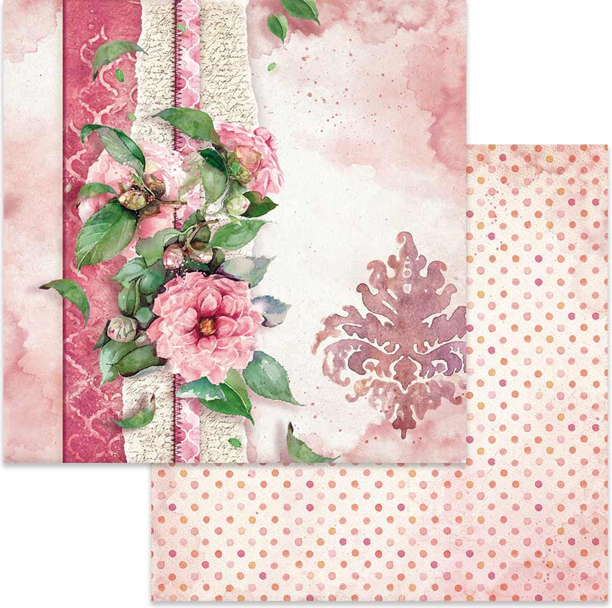Stamperia Double-Sided Cardstock 12X12-Flowers For You On Pink Background