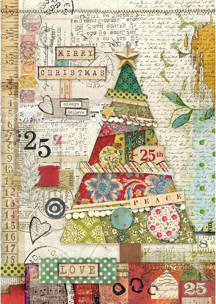 Stamperia Rice Paper Sheet A4-Patchwork Tree