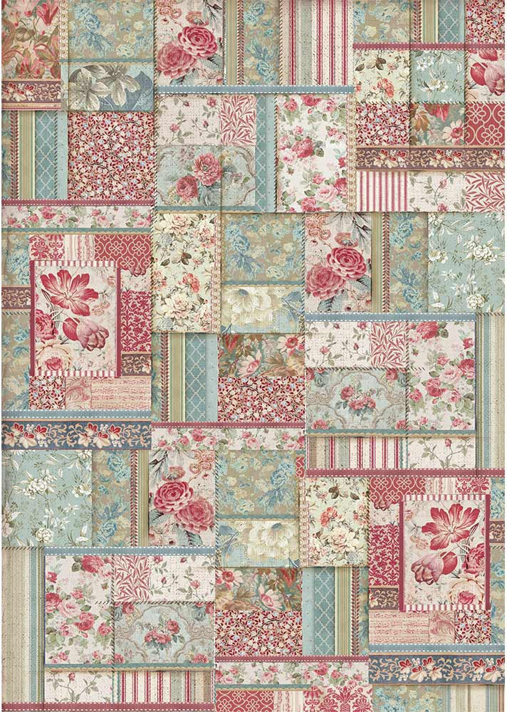 Stamperia Rice Paper Sheet A3-Flower Patchwork