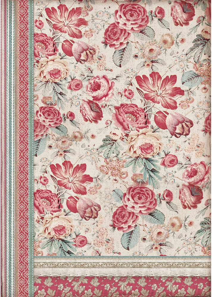 Stamperia Rice Paper Sheet A3-Red Flowers