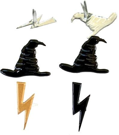 Eyelet Outlet Shape Brads 12/Pkg-Hat & Lightning Bolt