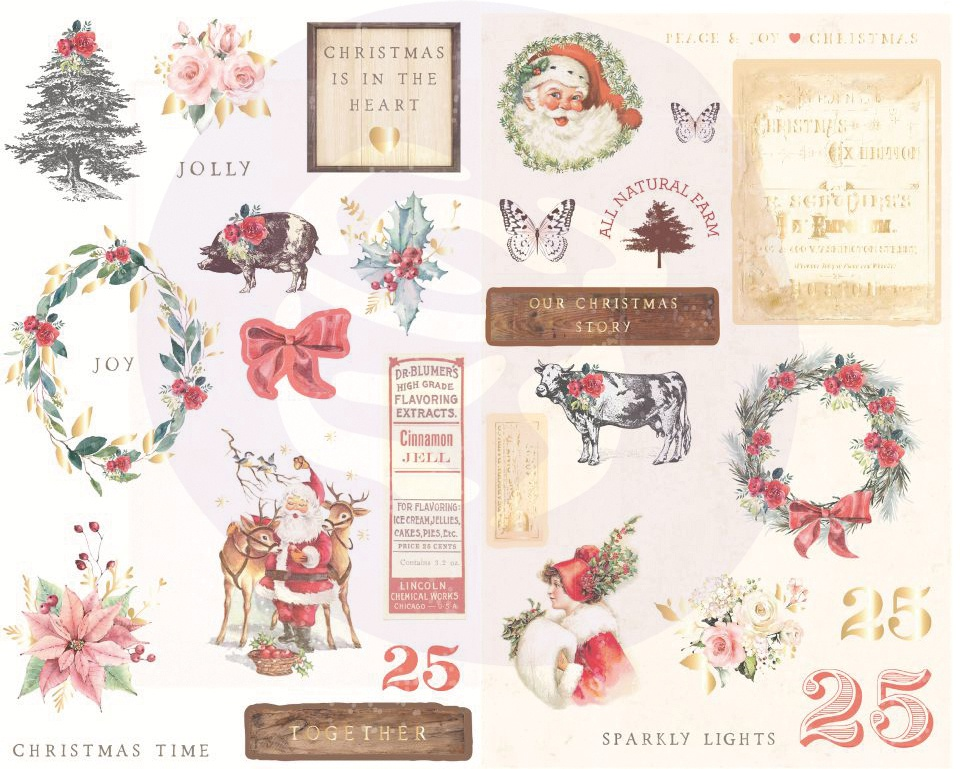 Christmas In The Country Chipboard Stickers 29/Pkg-Icons W/Foil Accents
