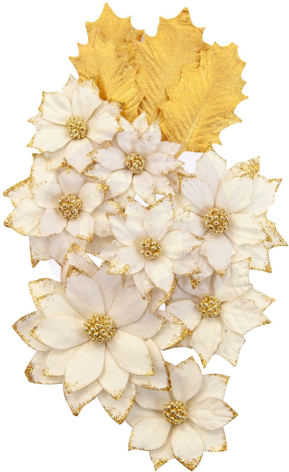 Prima Marketing Mulberry Paper Flowers  -White Christmas/Christmas In The Countr...