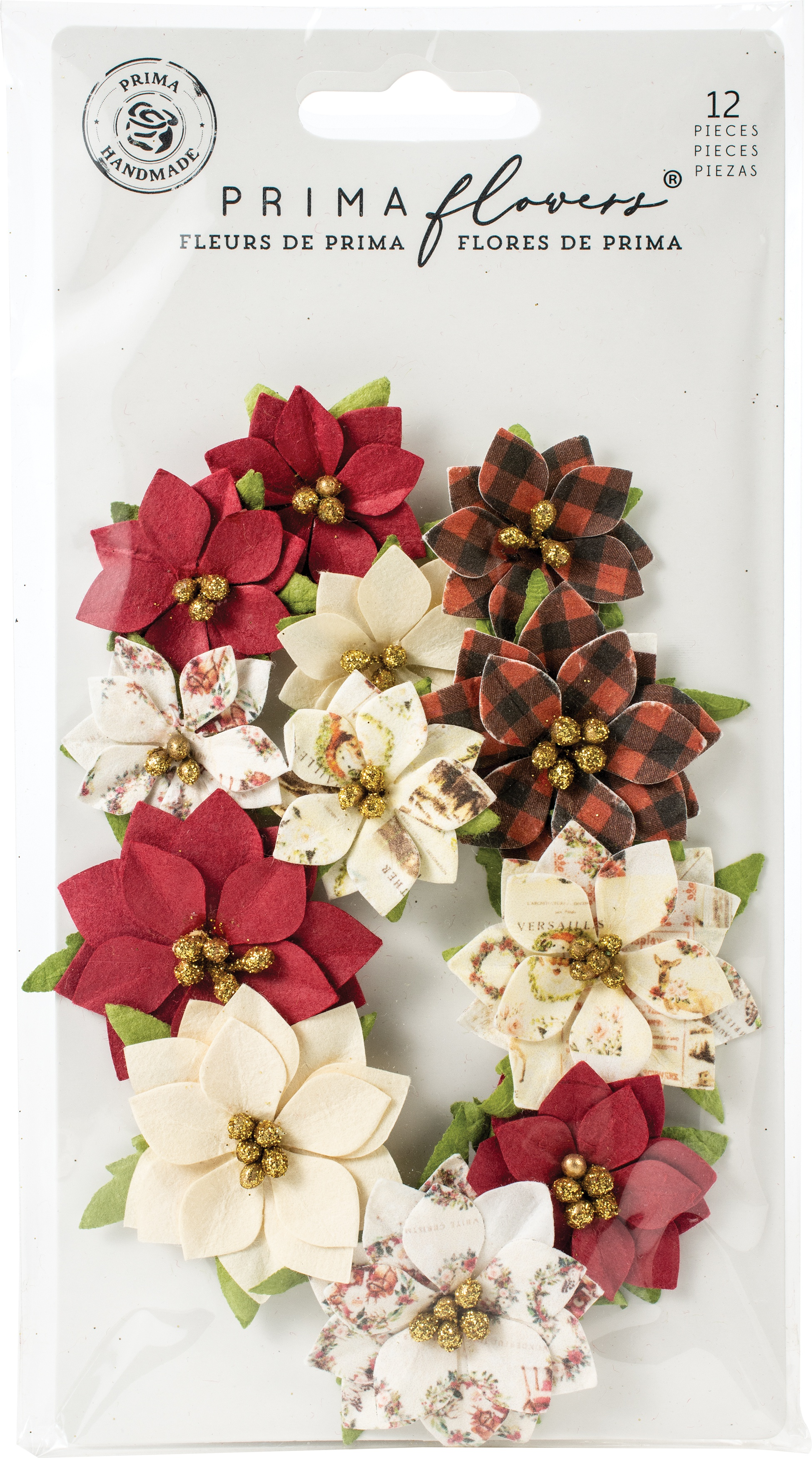 Prima Marketing Mulberry Paper Flowers  -Sugarplum/Christmas In The Country