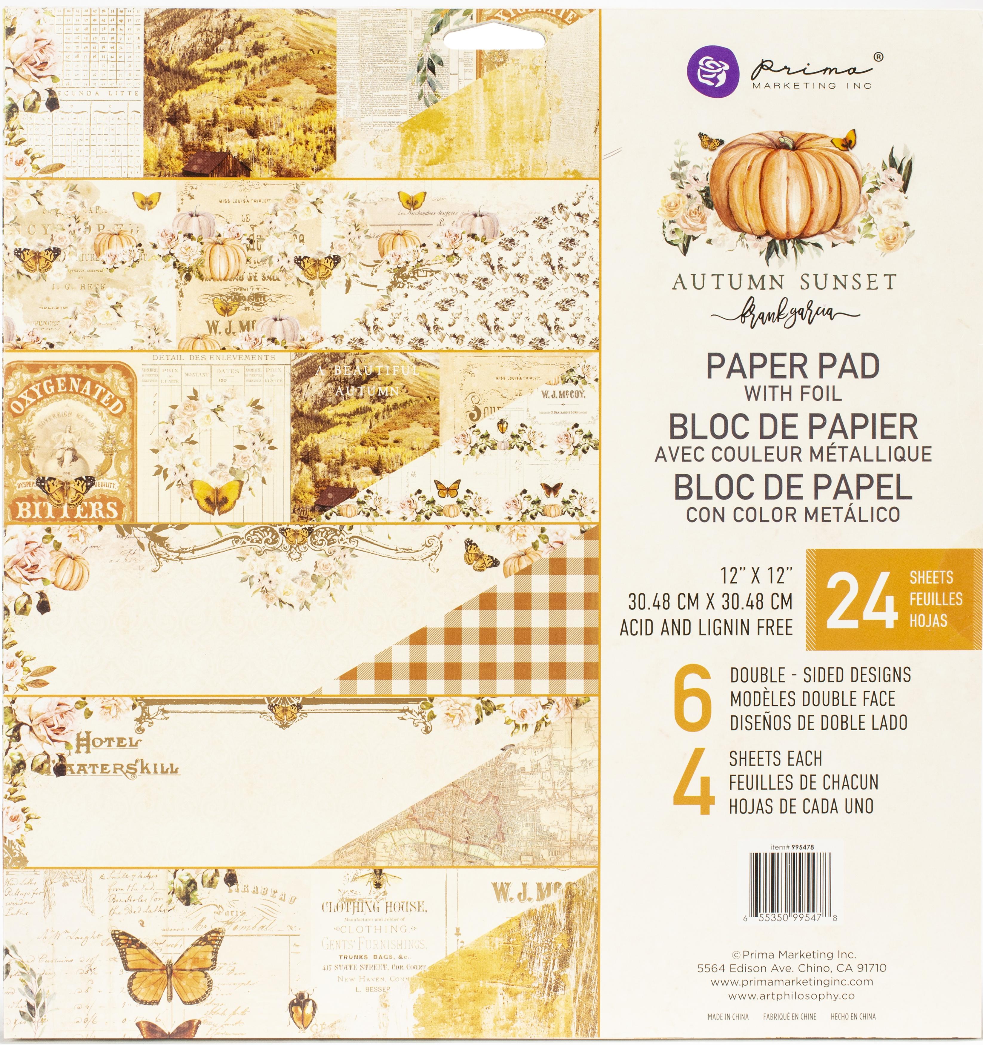 Prima - Autumn Sunset 12x12 Paper Pad with Foil