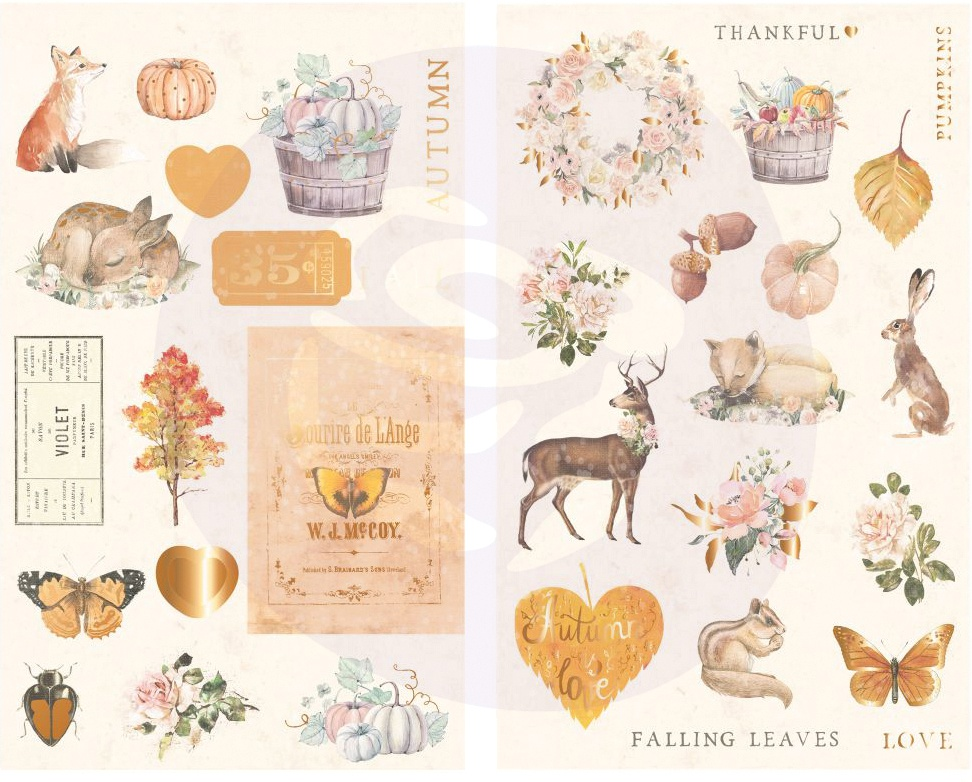 Autumn Sunset Chipboard Stickers 34/Pkg-Icons W/Foil Accents