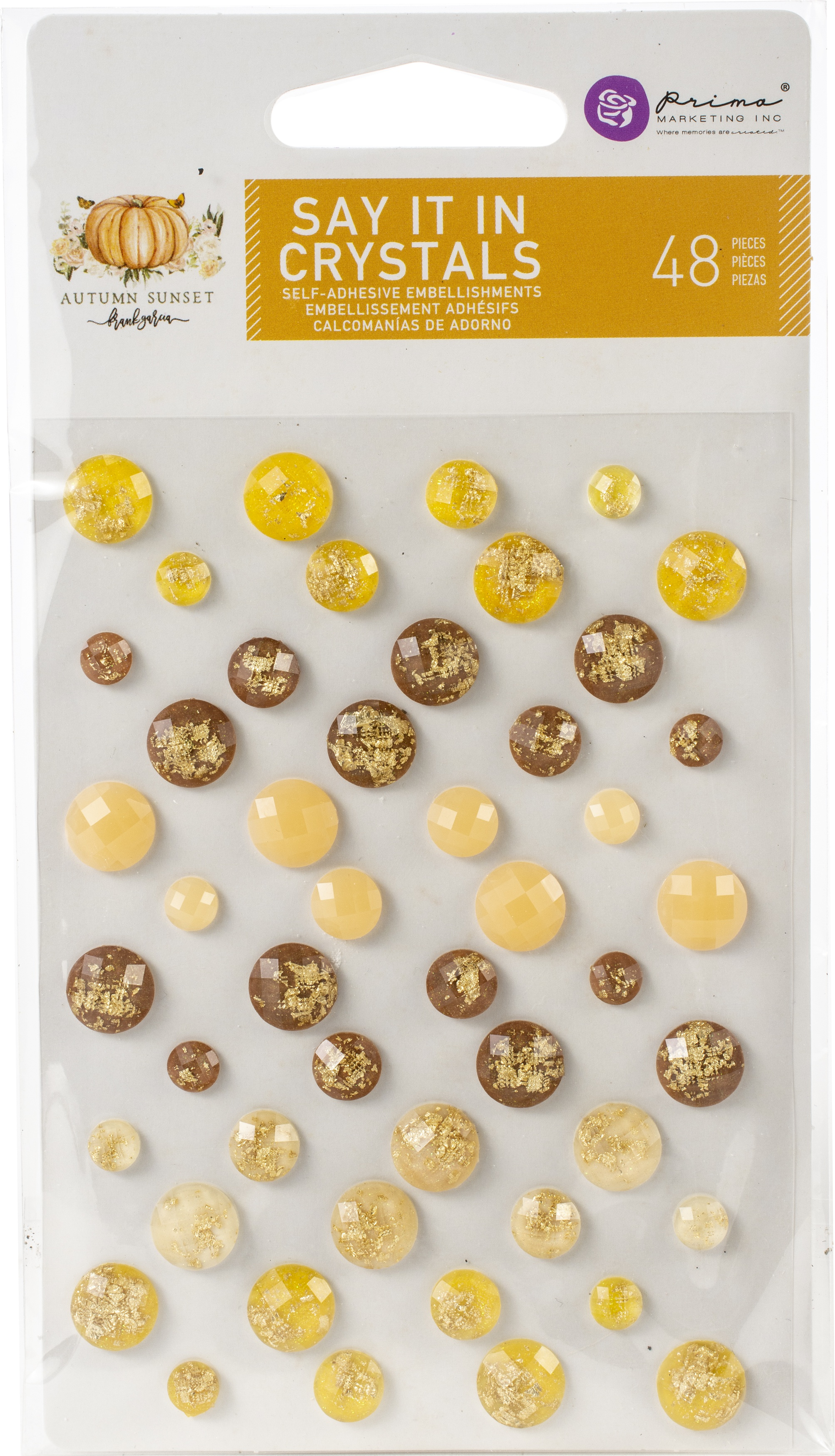 Prima Marketing Autumn Sunset Say It In Crystals-Assorted Dots 48/Pkg