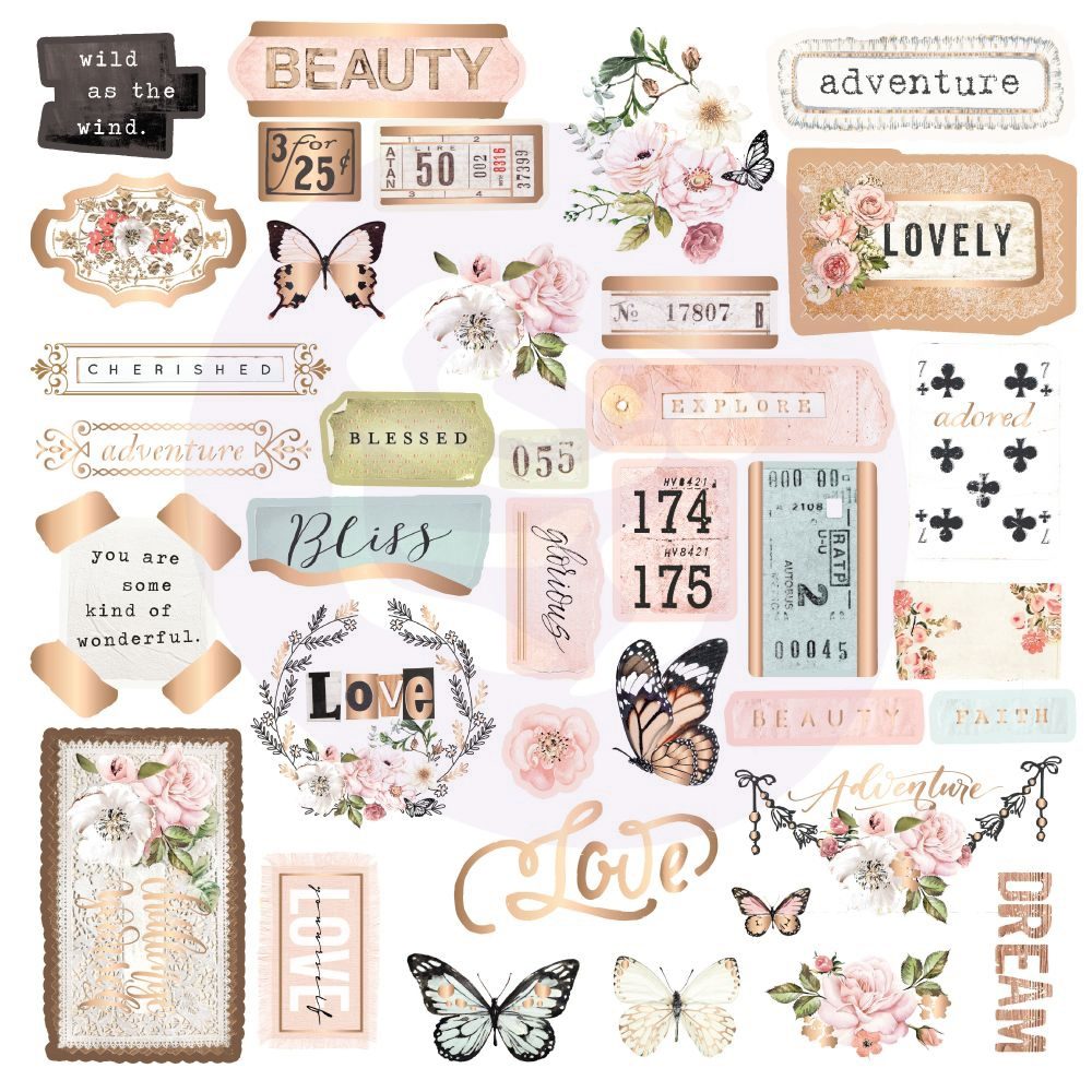 Apricot Honey Cardstock Ephemera 37/Pkg-Shapes, Tags, Words, Foiled Accents