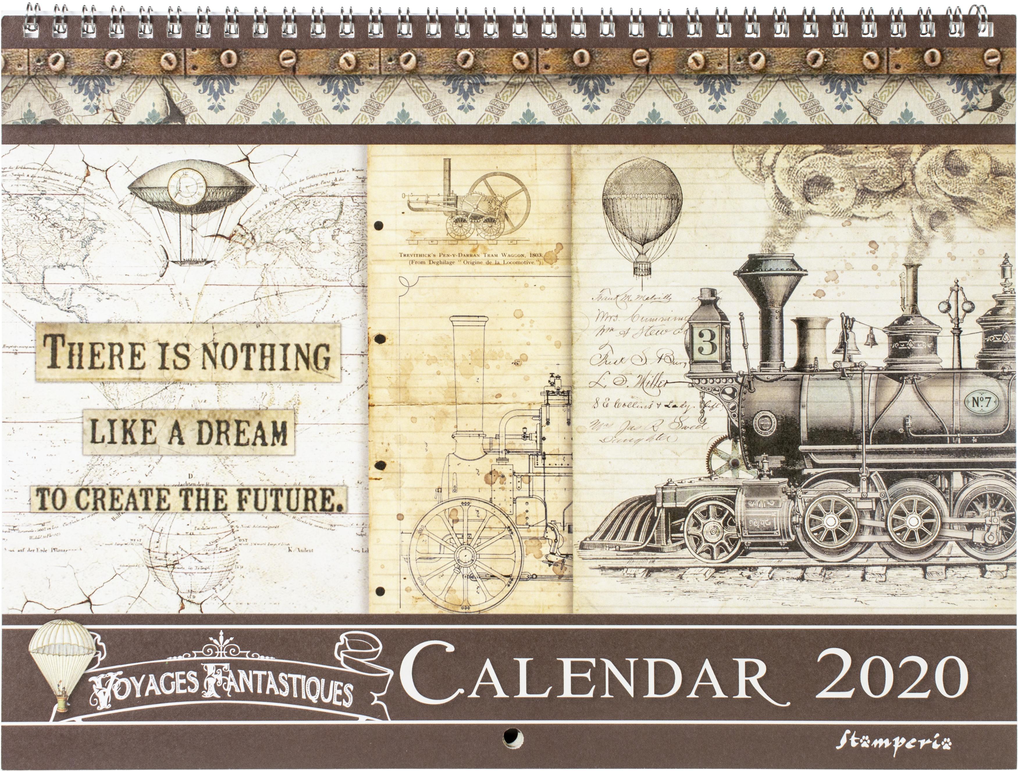 ^Stamperia - Voyages Fantastiques - 2020 Wirebound Calendar 11.75 x 8.75