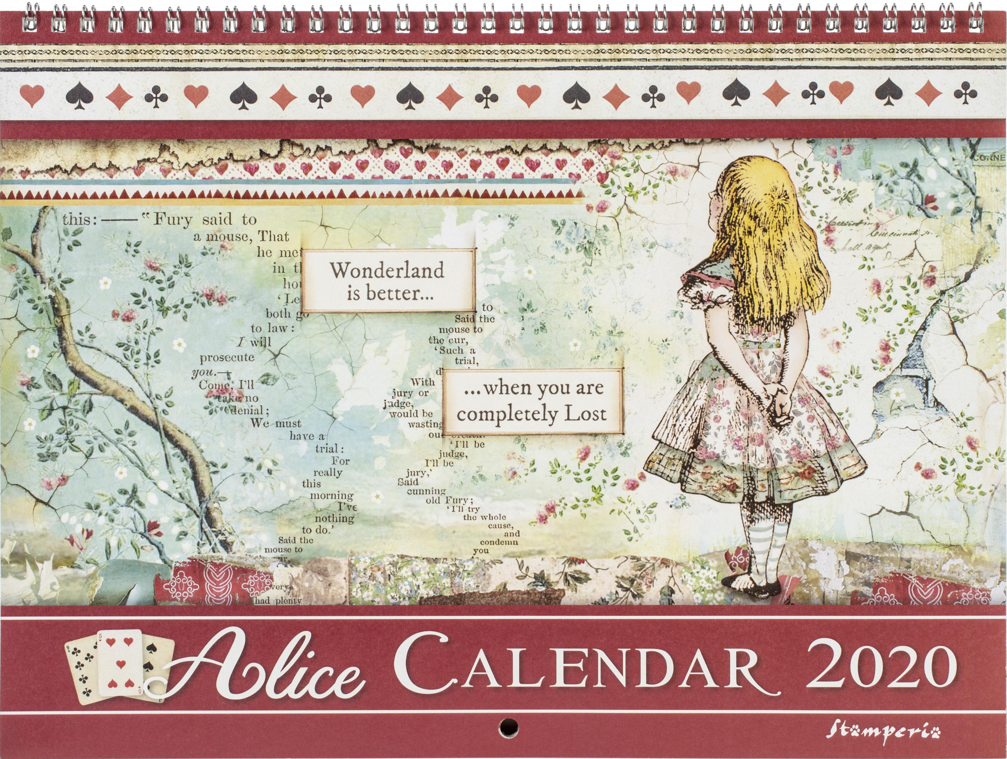 Stamperia 2020 Wirebound Calendar 11.75X8.75-Alice