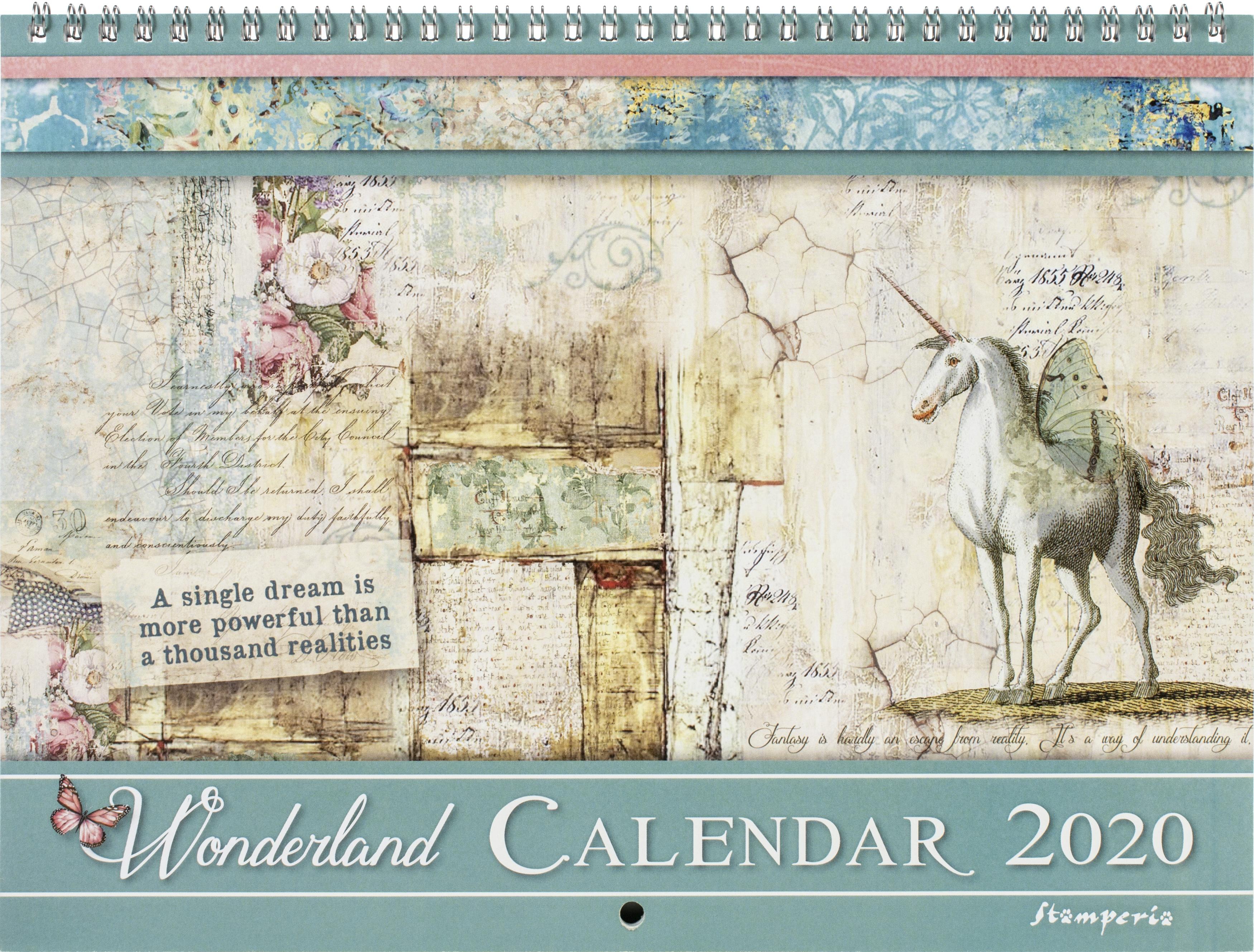 Stamperia 2020 Wirebound Calendar 11.75X8.75-Wonderland