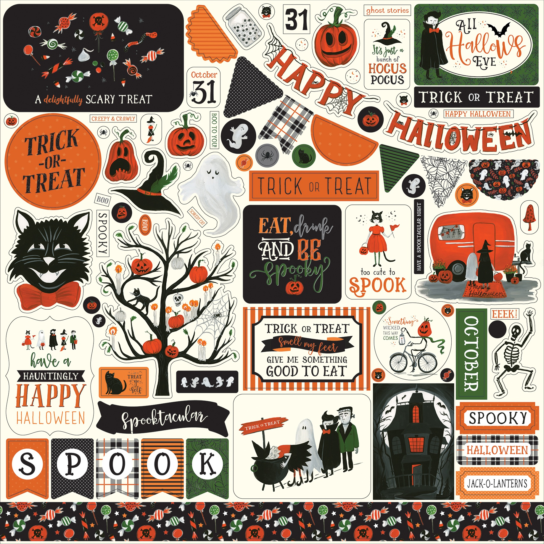 Trick Or Treat Cardstock Stickers 12X12-Elements