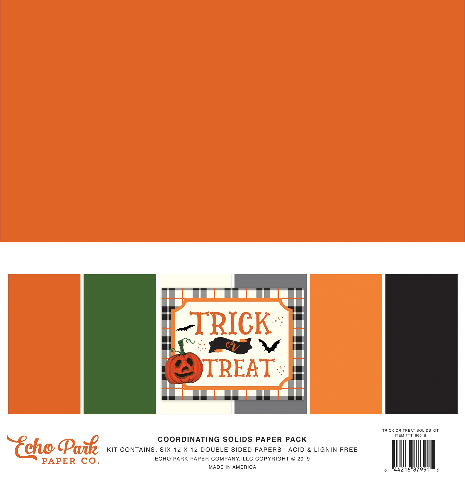 Echo Park Double-Sided Solid Cardstock 12X12 6/Pkg-Trick Or Treat, 6 Colors