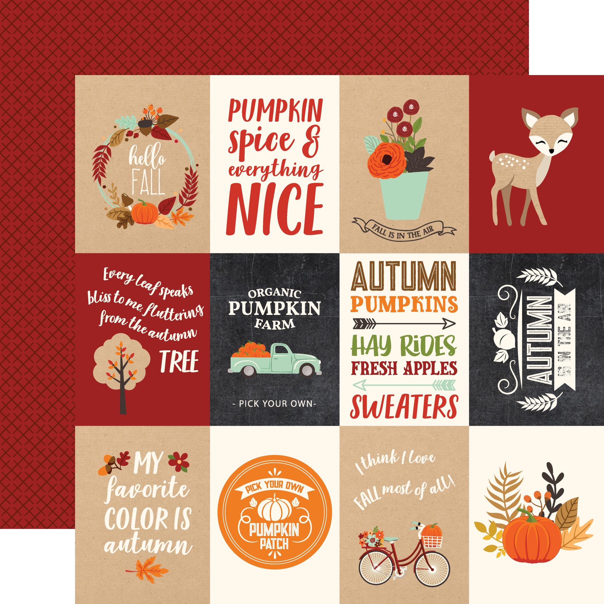 My Favorite Fall Double-Sided Cardstock 12X12-3X4 Journaling Cards