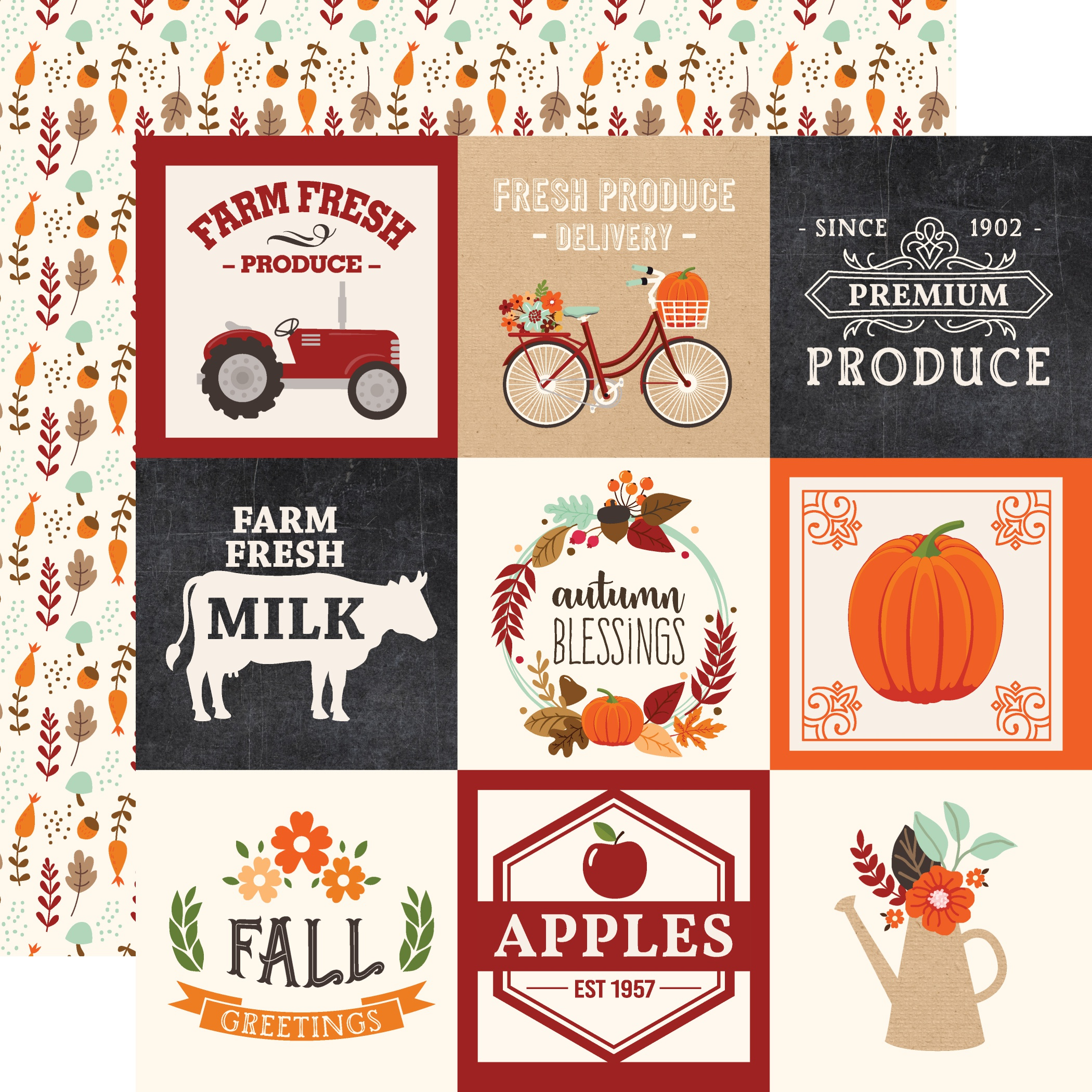 My Favorite Fall Double-Sided Cardstock 12X12-4X4 Journaling Cards
