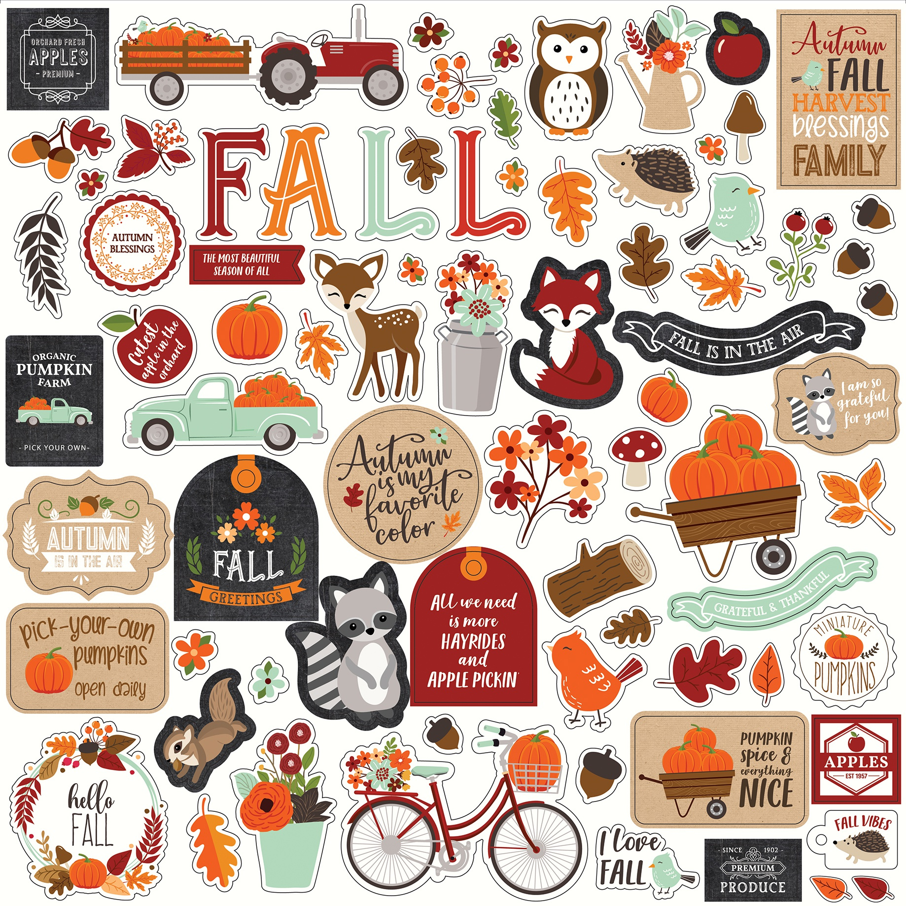 My Favorite Fall Cardstock Stickers 12X12-Elements