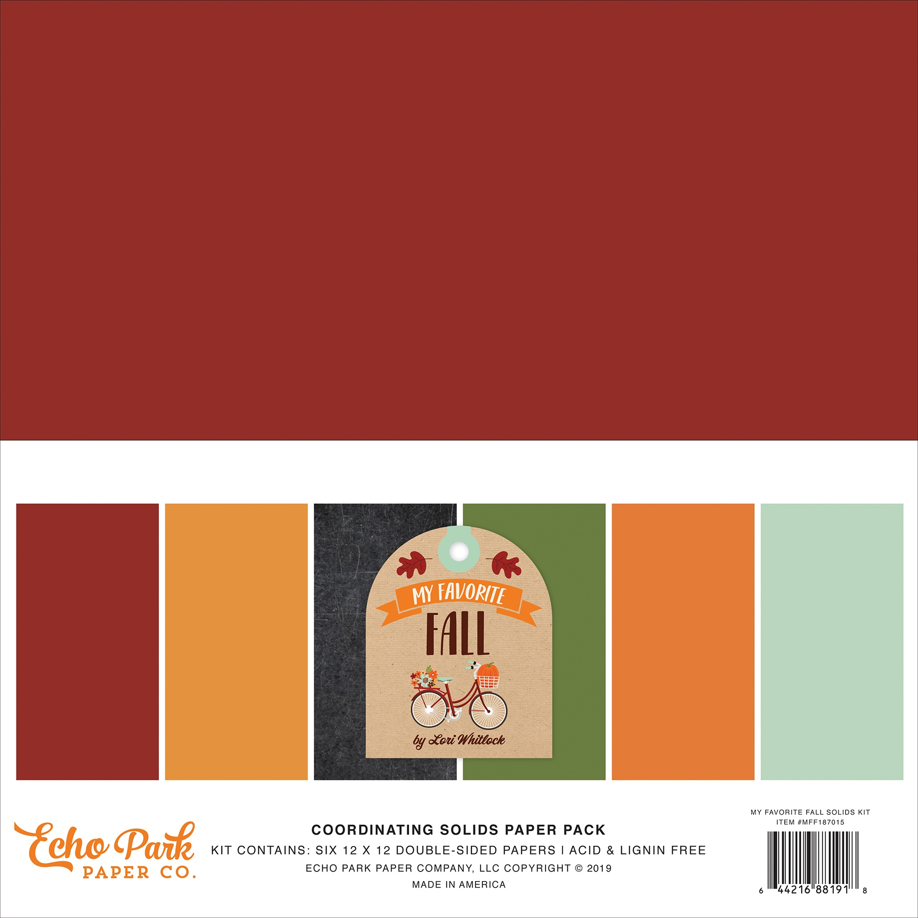 Echo Park Double-Sided Solid Cardstock 12X12 6/Pkg-My Favorite Fall, 6 Colors