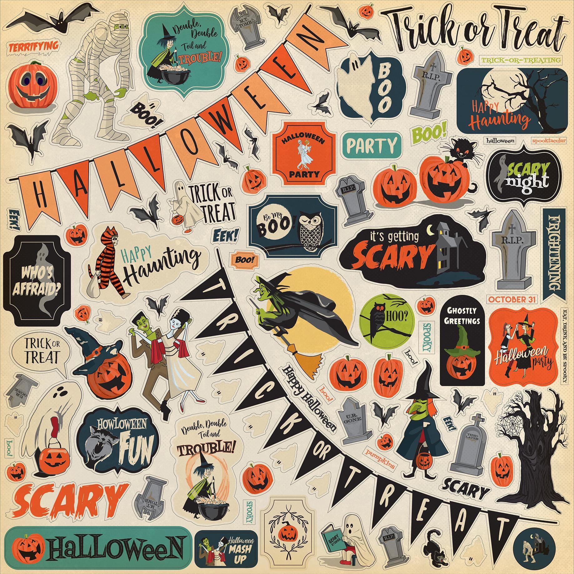 Happy Halloween Cardstock Stickers 12X12-Elements