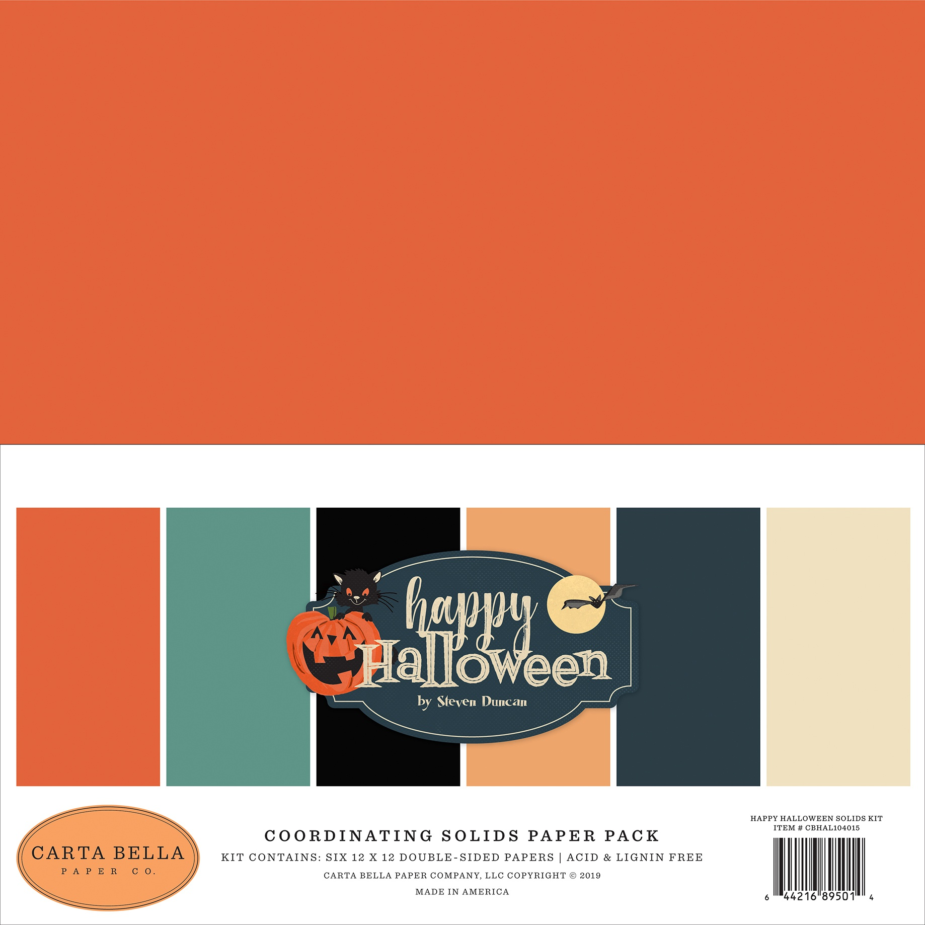 Carta Bella Double-Sided Solid Cardstock 12X12 6/Pkg-Happy Halloween, 6 Colors