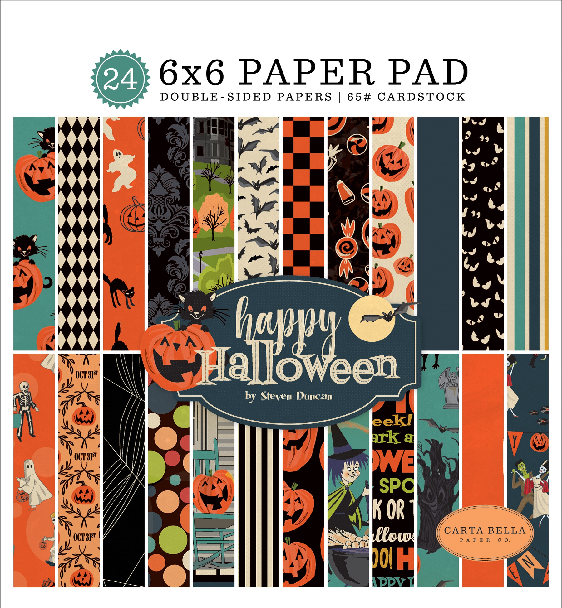 Carta Bella Double-Sided Paper Pad 6X6 24/Pkg-Happy Halloween, 12 Designs/2 Ea...