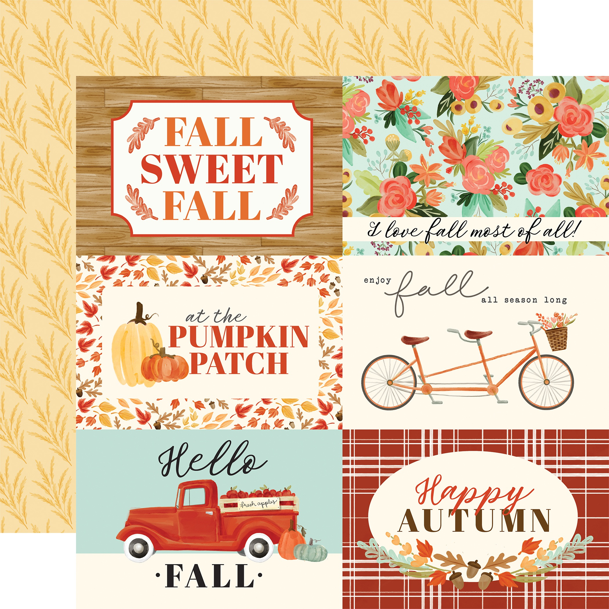 Fall Market Double-Sided Cardstock 12X12-4X6 Journaling Cards