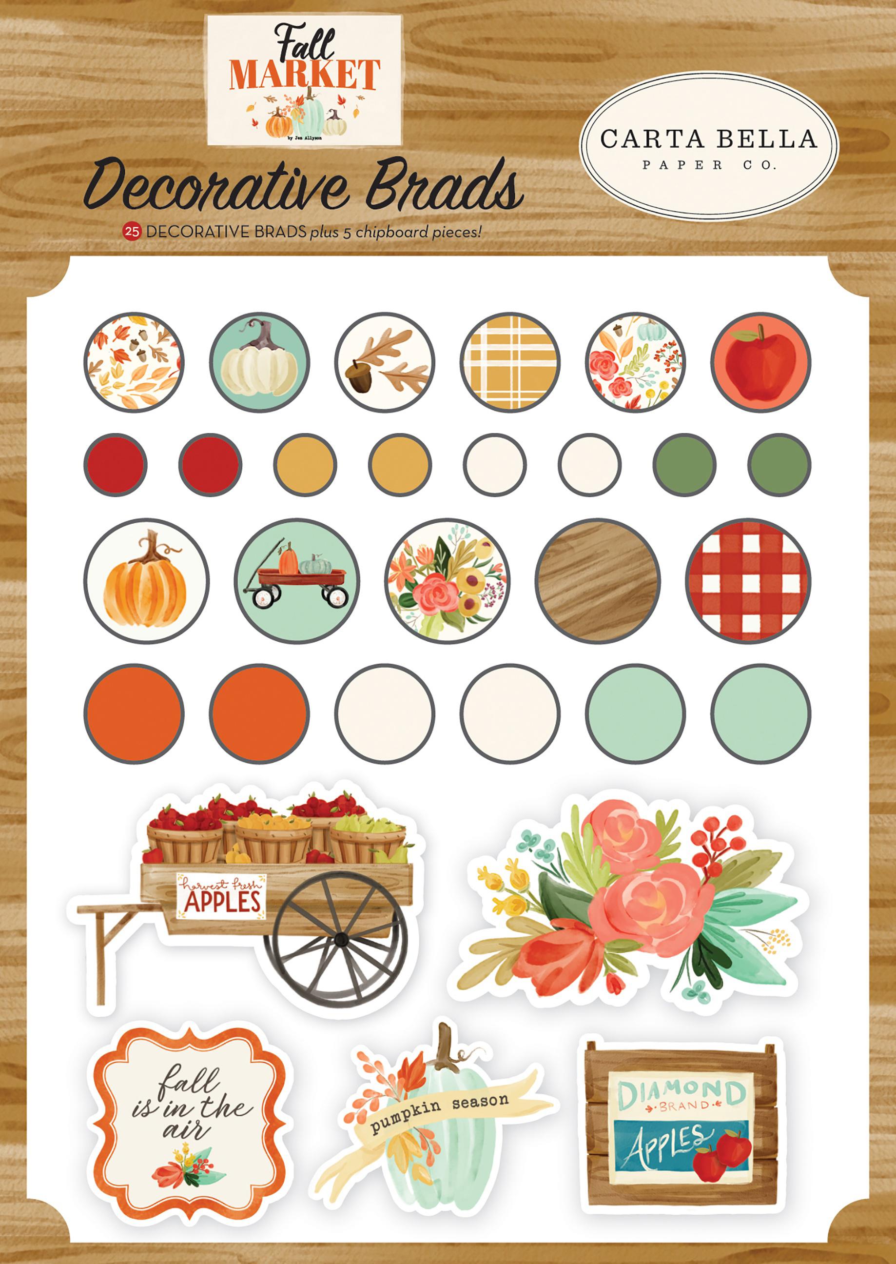Carta Bella Decorative Brads -Fall Market, 25/Pkg + 5 Chipboard