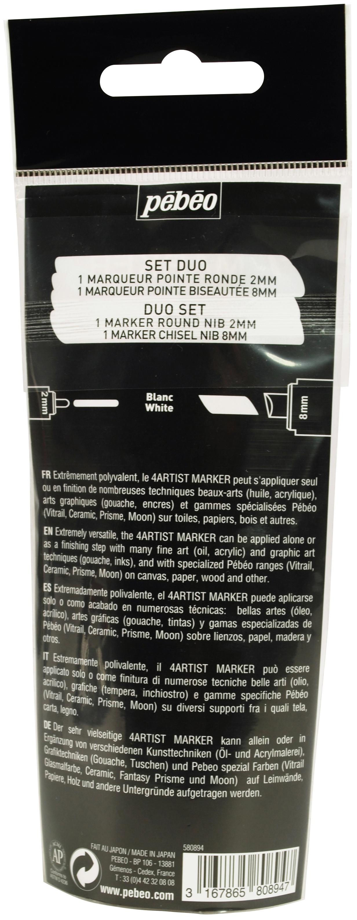 4Artist Marker Set 2/Pkg-White 2mm & 8mm