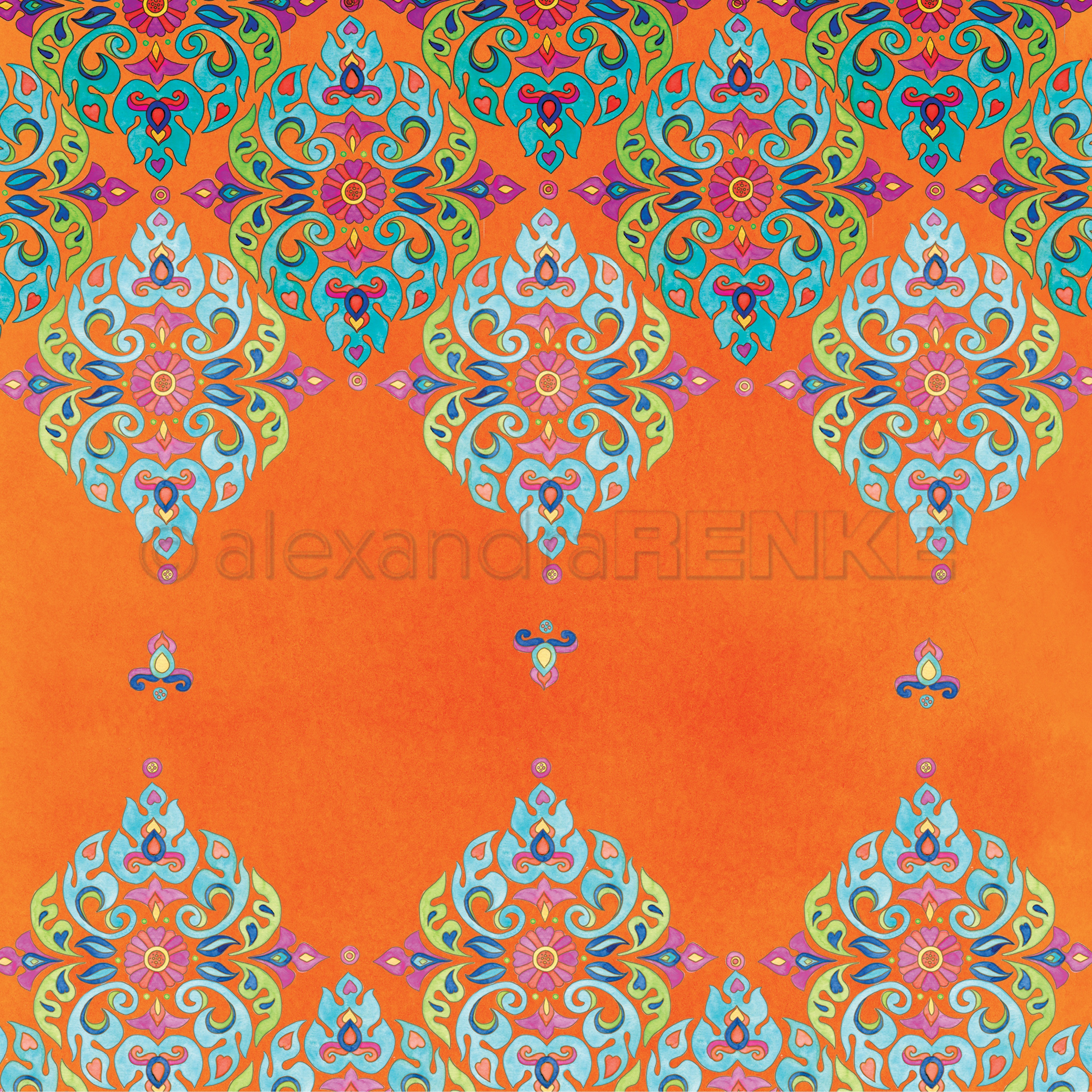 Alexandra Renke Ornamentic 2 Design Paper 12X12-Mandala Row Up On Orange
