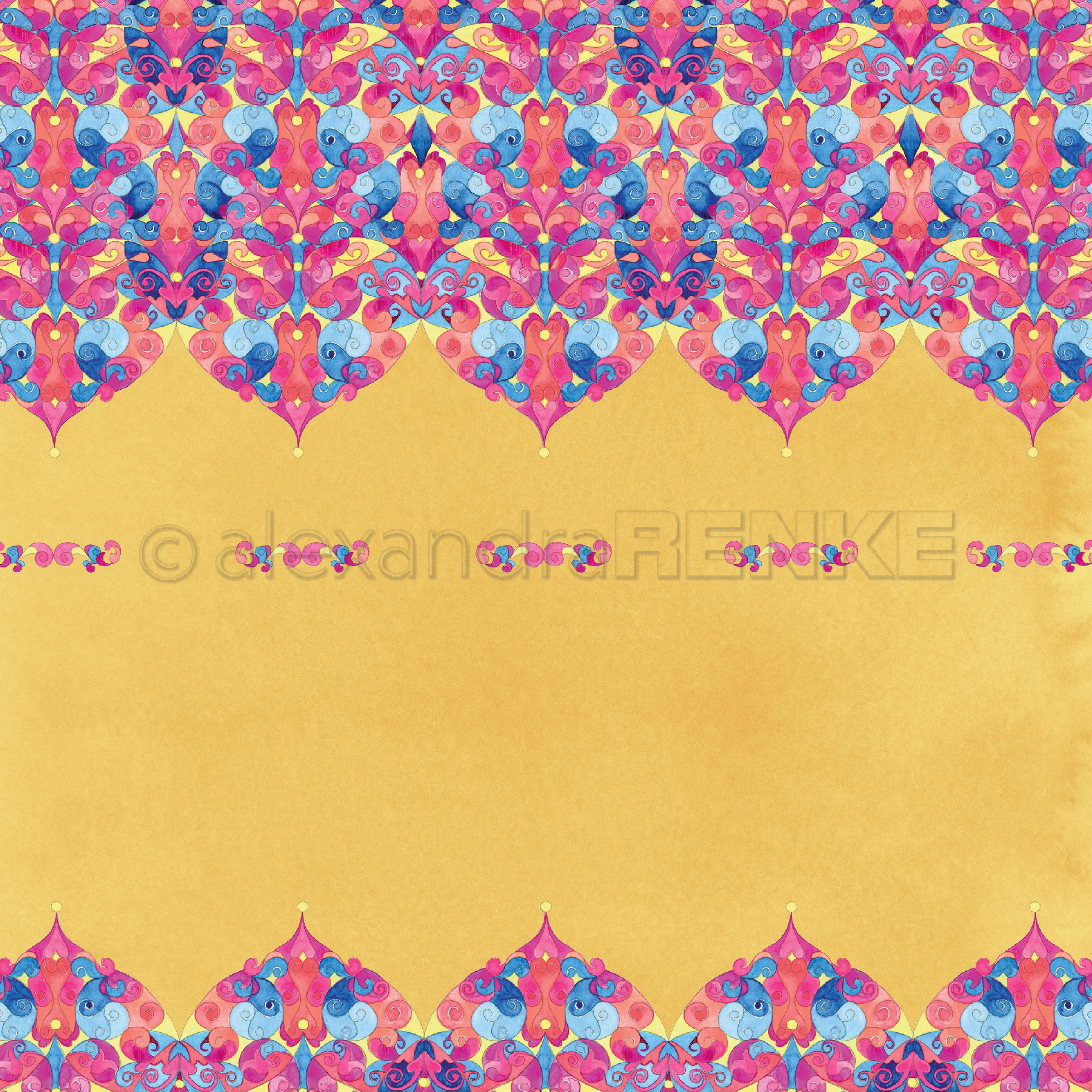 Alexandra Renke Ornamentic 2 Design Paper 12X12-Baldachin Ornament On Safran Y...