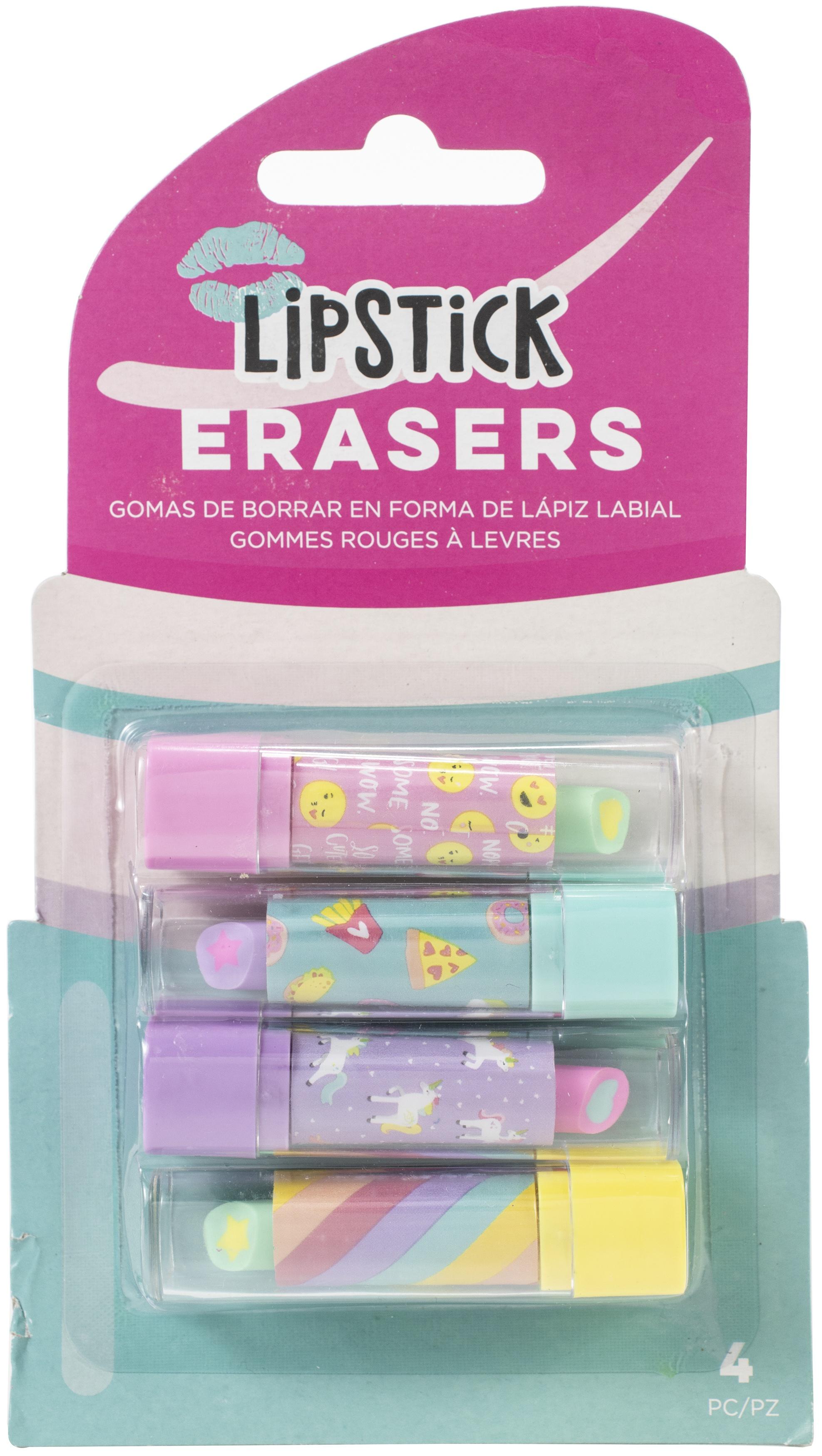 AC Office Retractable Lipstick Erasers 4/Pkg-Trendy