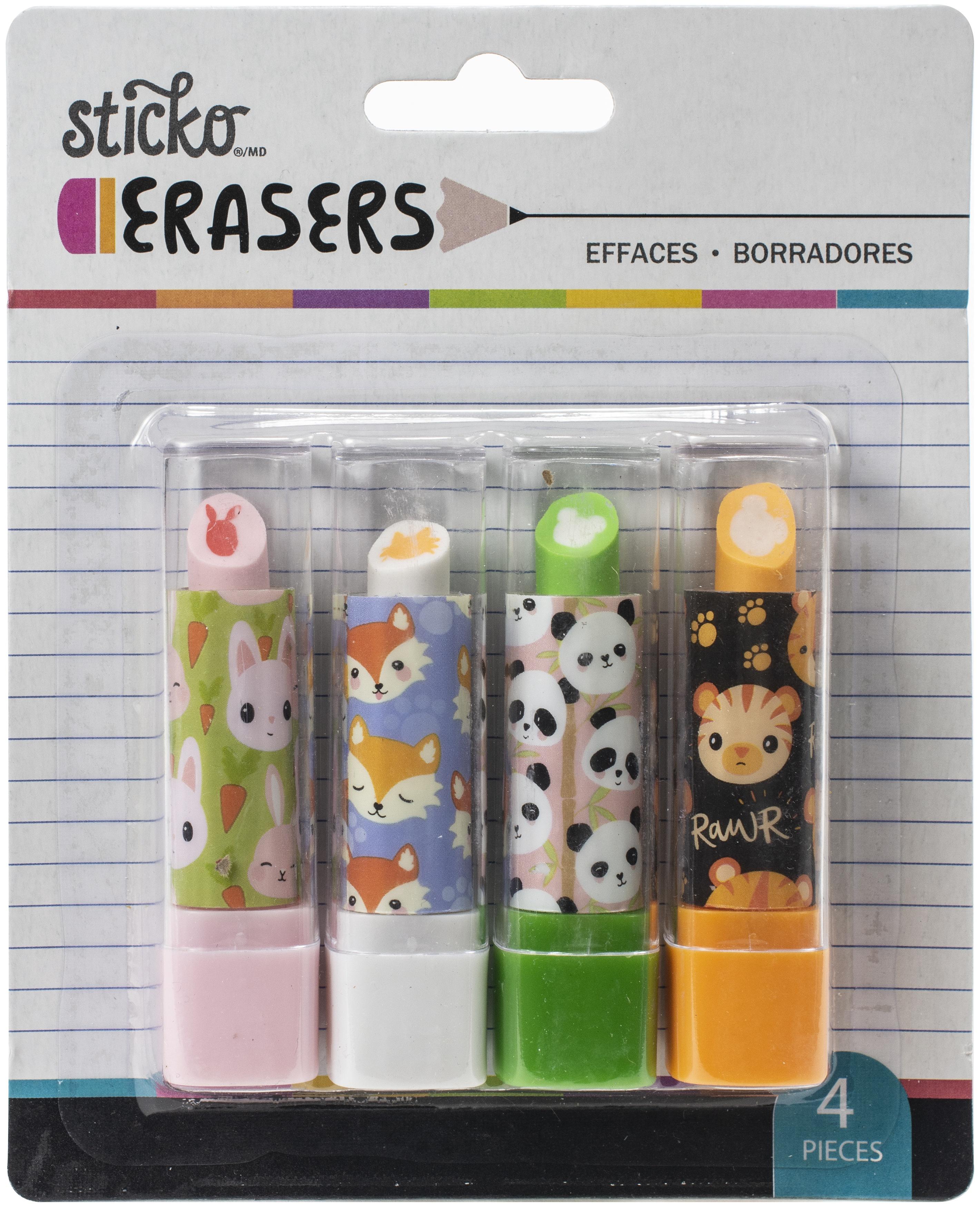 Sticko Retractable Lipstick Erasers 4/Pkg-Animal Heads