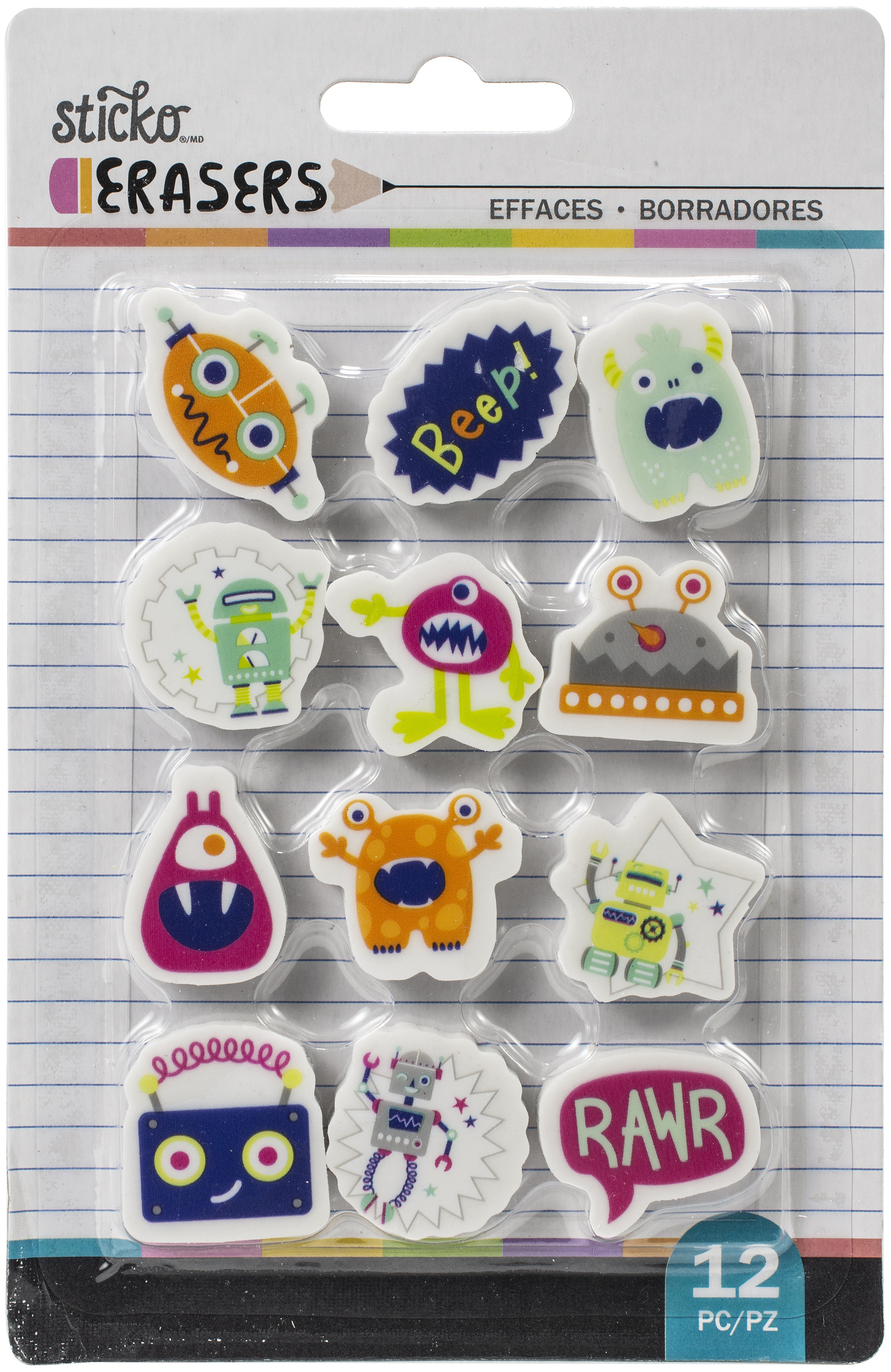 Sticko Small Erasers 12/Pkg-Robots And Monsters