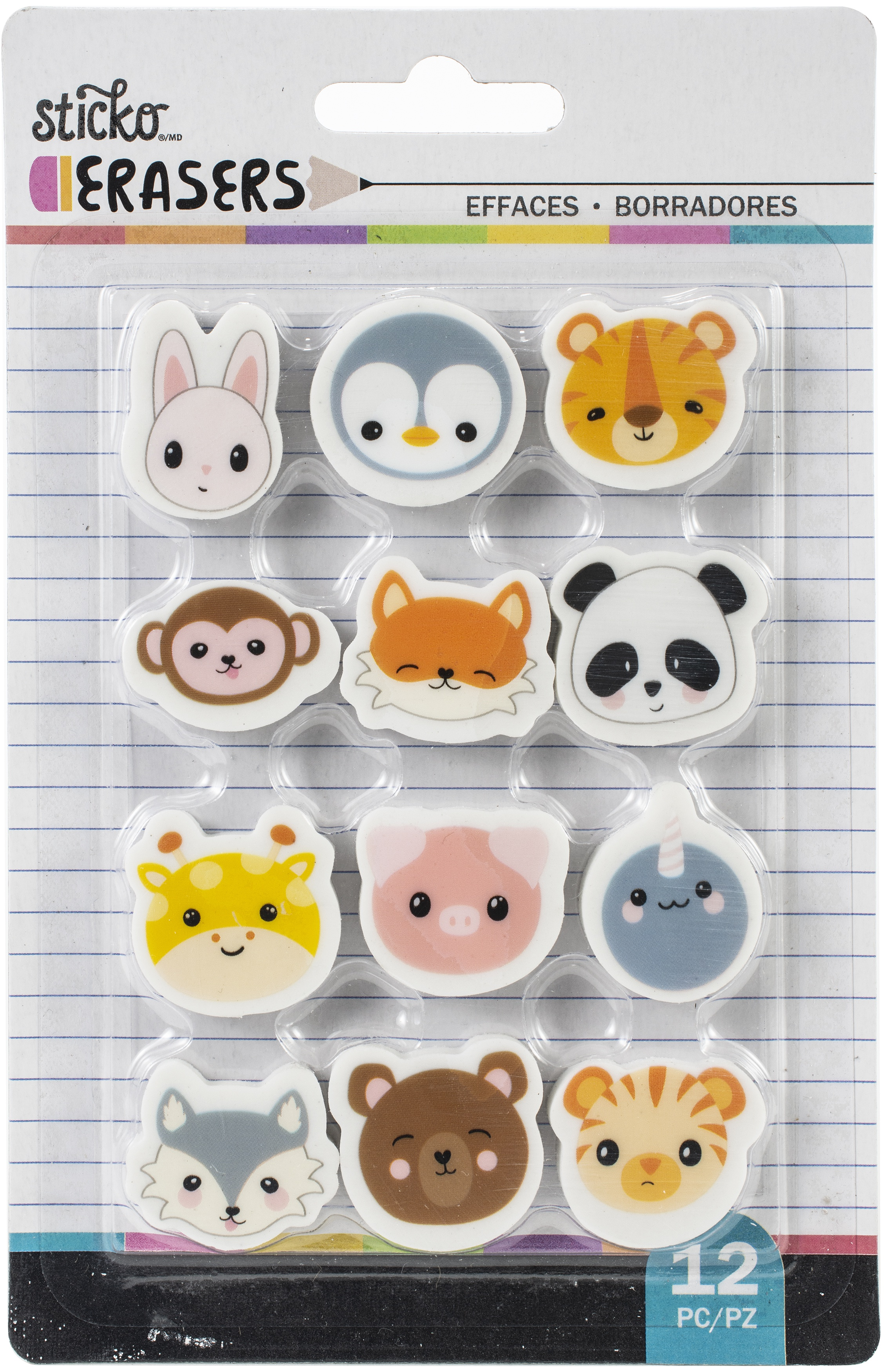 Sticko Small Erasers 12/Pkg-Animal Heads