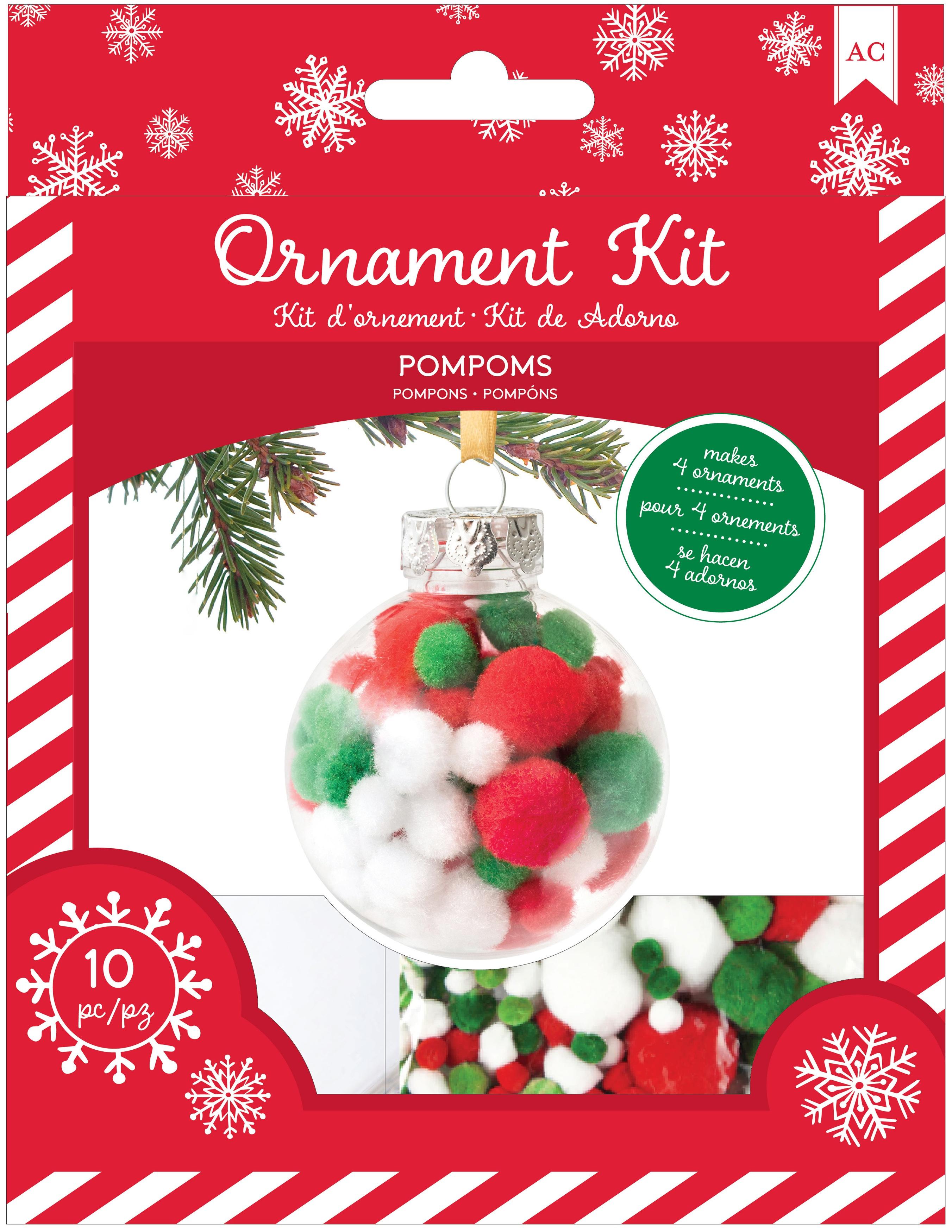 AC Christmas Ornament Kit 4/Pkg-Pom Poms