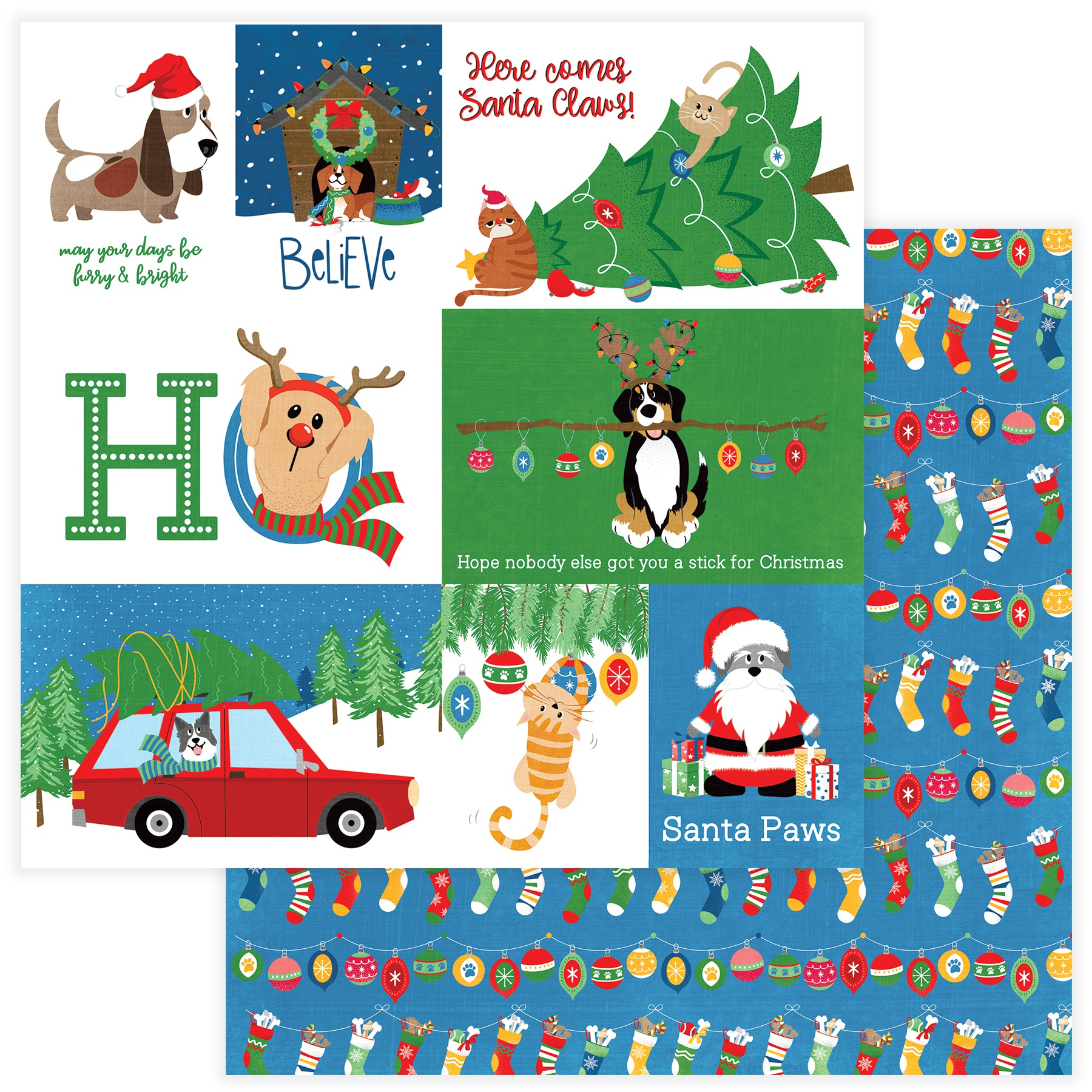 Muttcracker Double-Sided Cardstock 12X12-Santa Paws