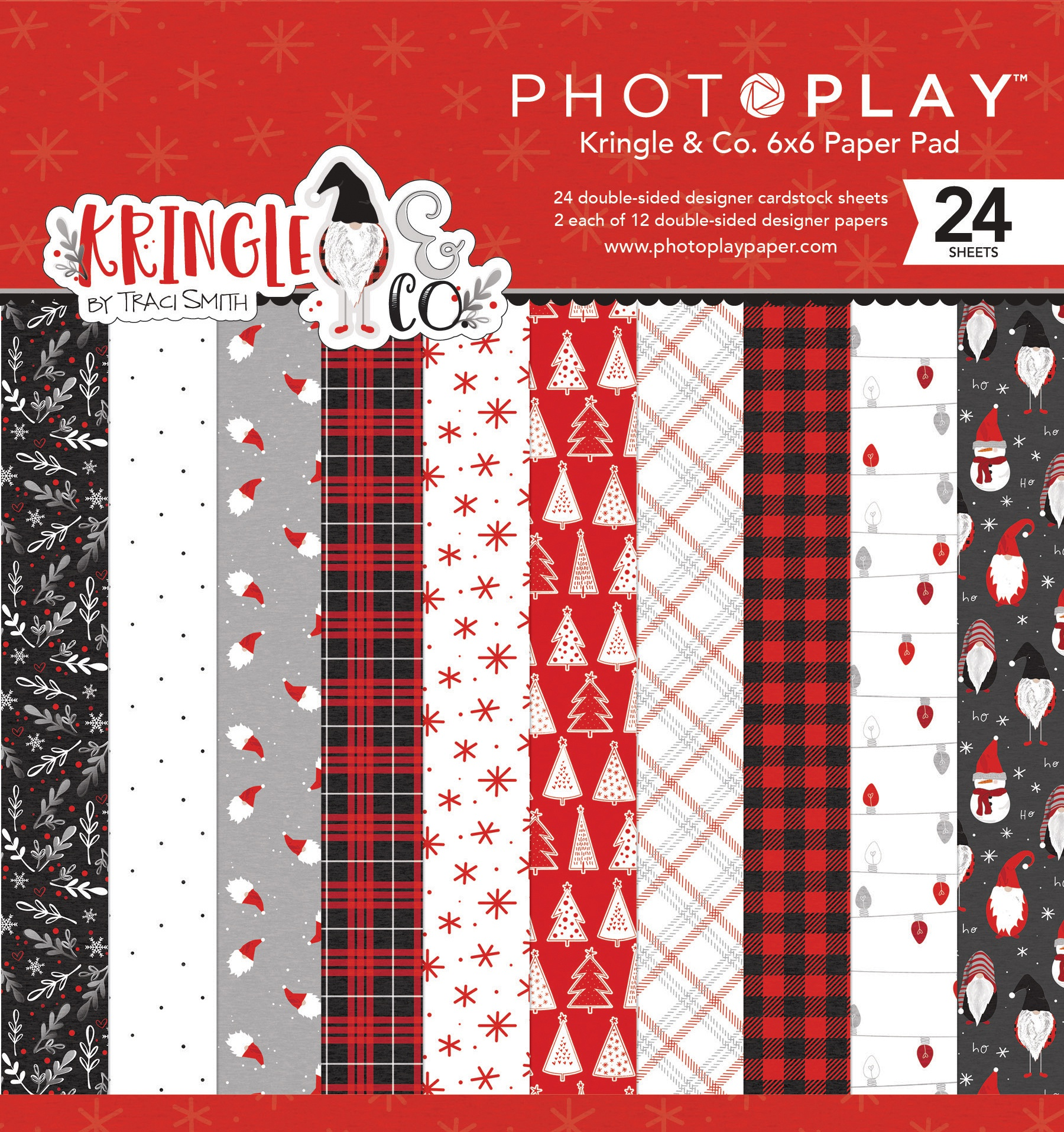 PhotoPlay Double-Sided Paper Pad 6X6 24/Pkg-Kringle & Co, 8 Designs/3 Each