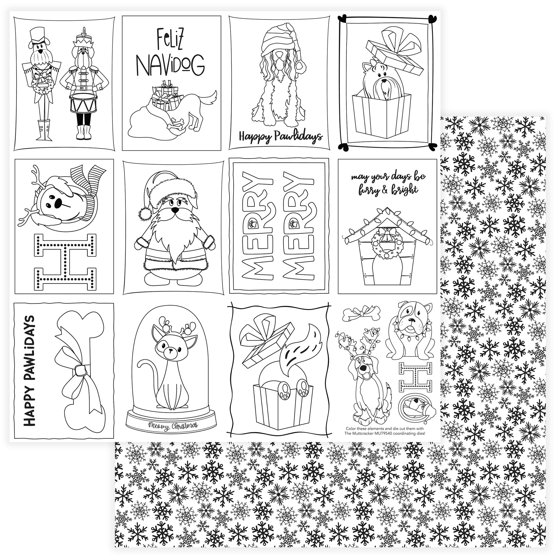 Muttcracker Double-Sided Cardstock 12X12-Black & White Color Me Cards